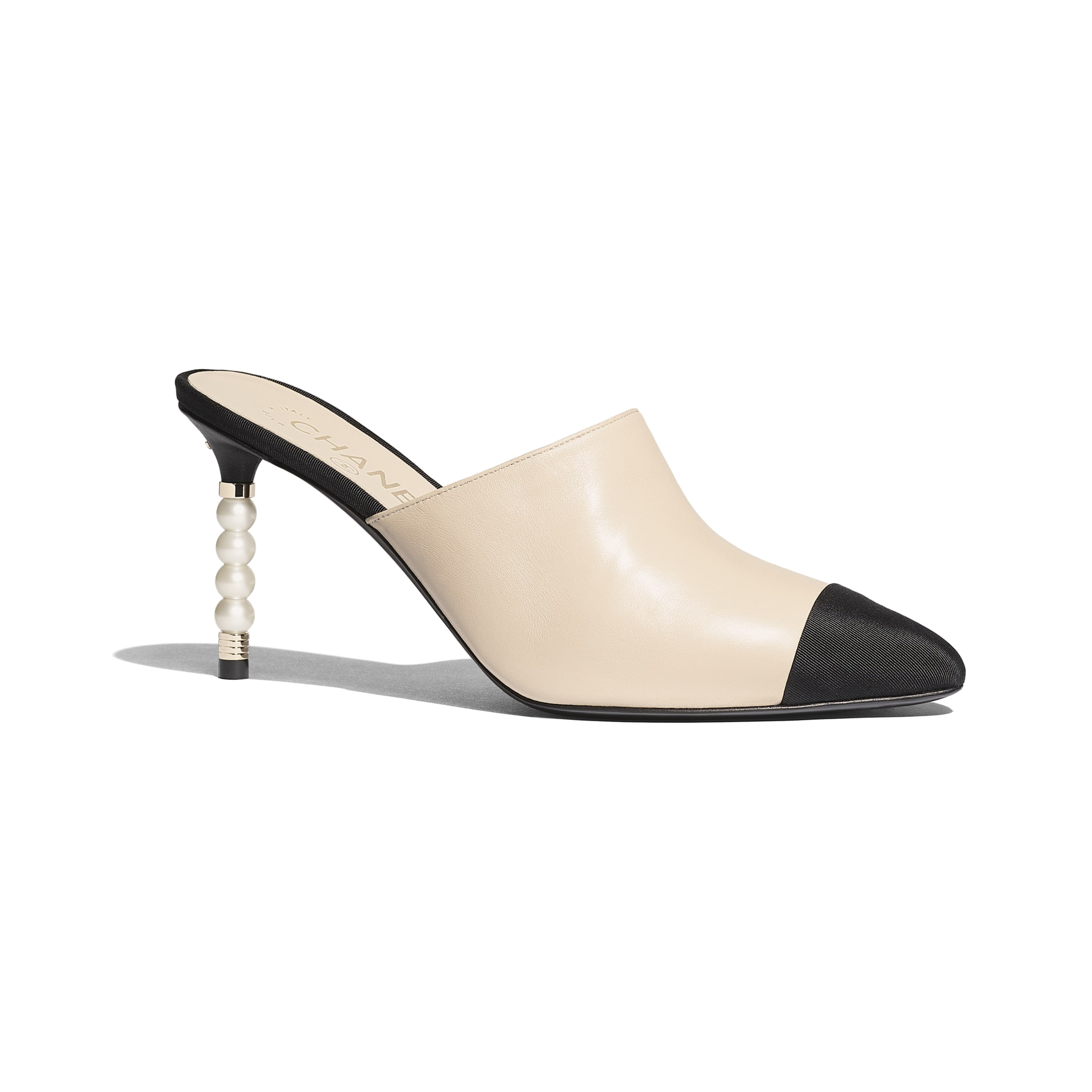 Mules - Beige & Black - Lambskin & Grosgrain - Default view - see standard sized version