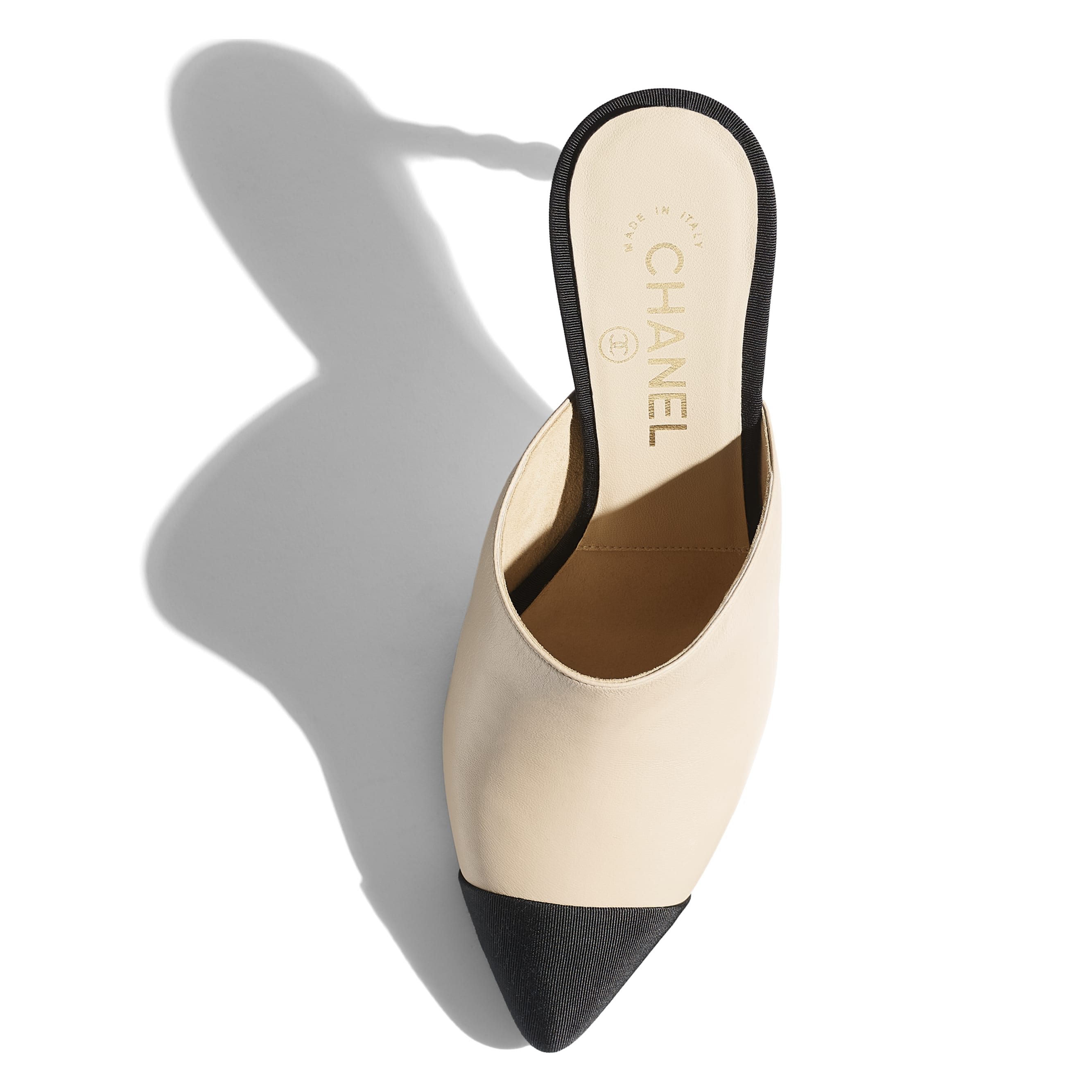 Mules - Beige & Black - Lambskin & Grosgrain - Extra view - see standard sized version