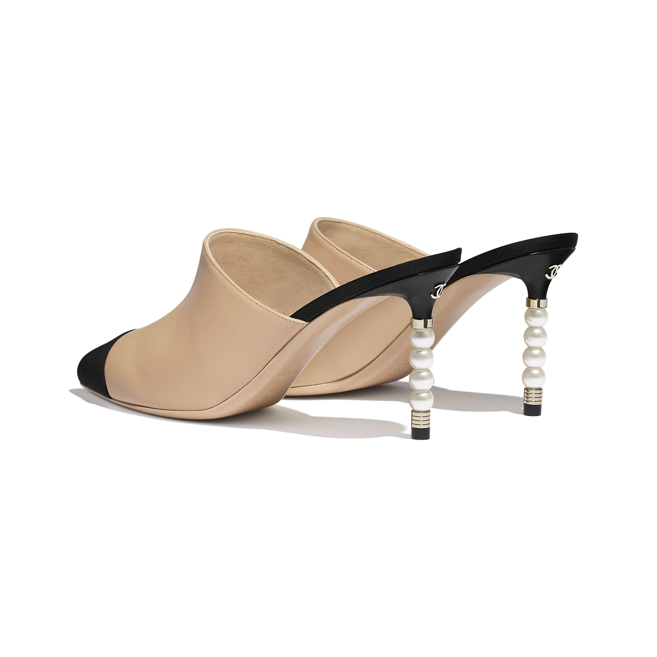 Mules - Beige & Black - Lambskin & Grosgrain - Other view - see standard sized version