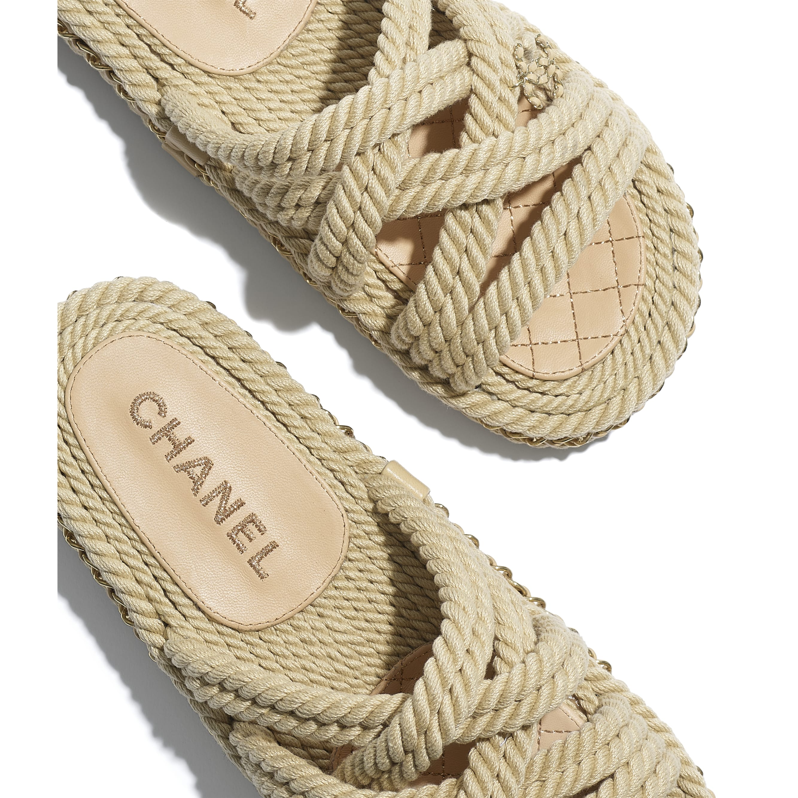 Mules - Beige - Cord - CHANEL - Extra view - see standard sized version