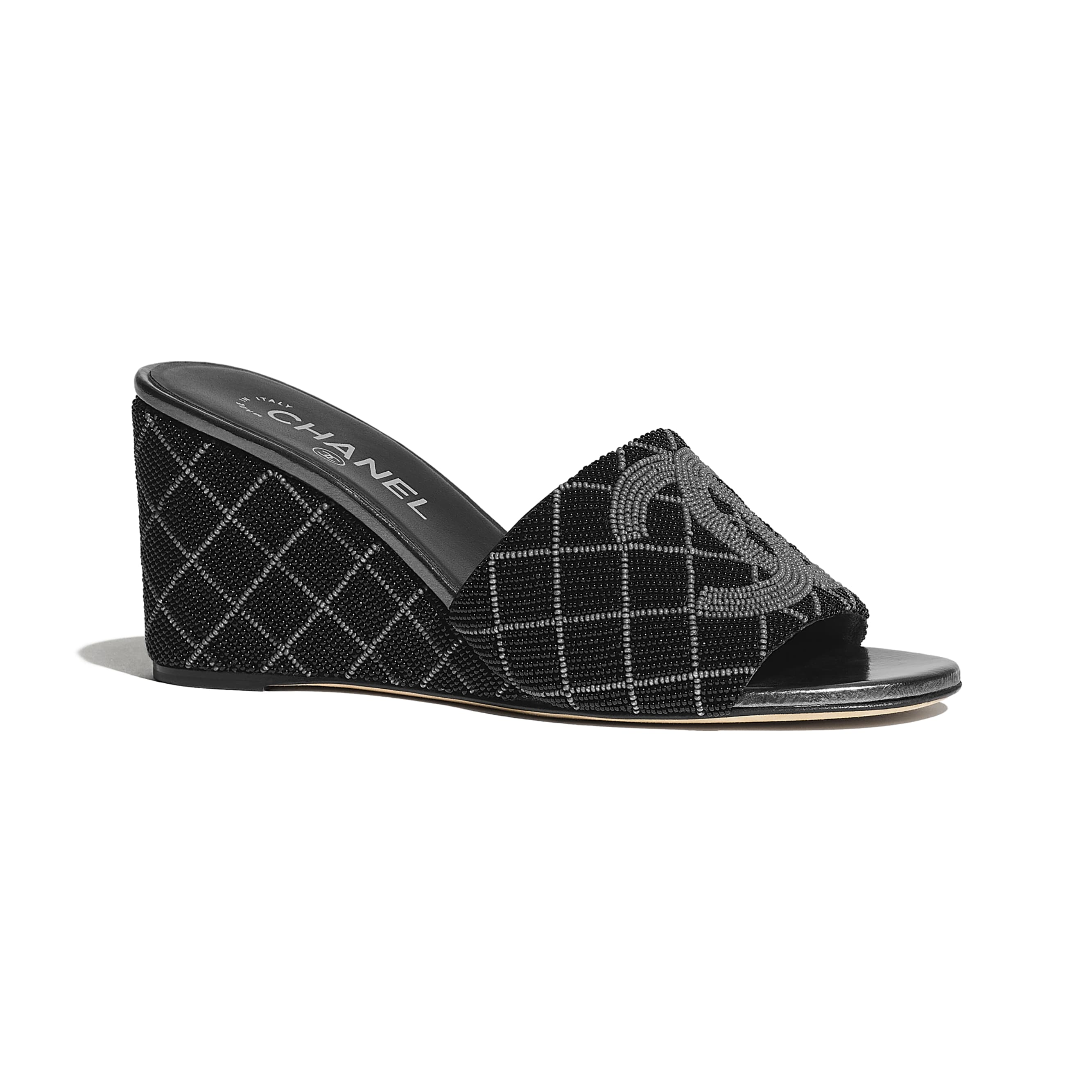 Mules - Black & Gray - Pearl Embroidery - CHANEL - Default view - see standard sized version