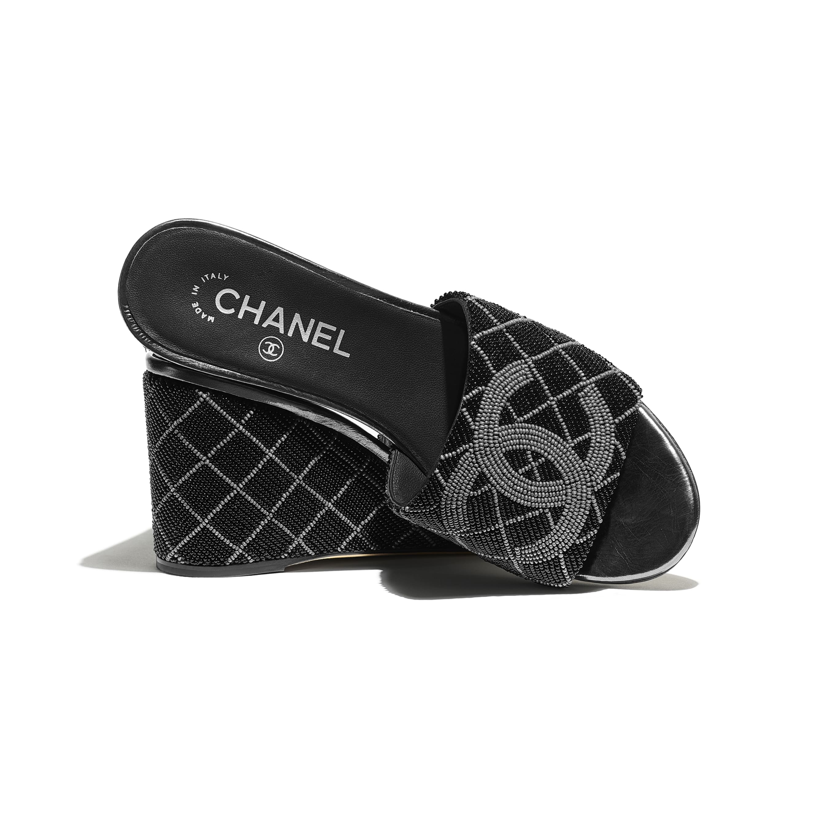 Mules - Black & Gray - Pearl Embroidery - CHANEL - Extra view - see standard sized version