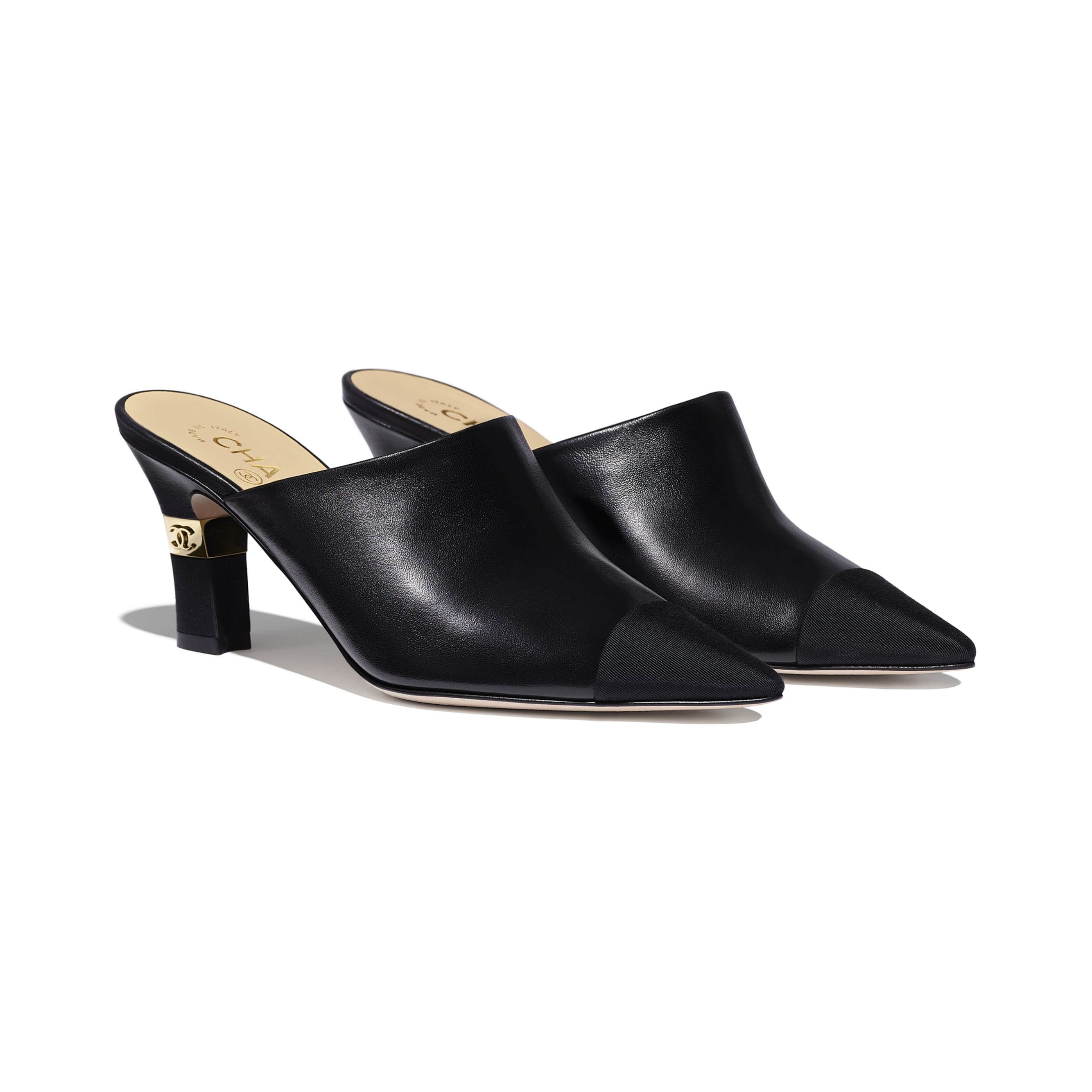 Mules - Black - Lambskin & Grosgrain - Alternative view - see standard sized version