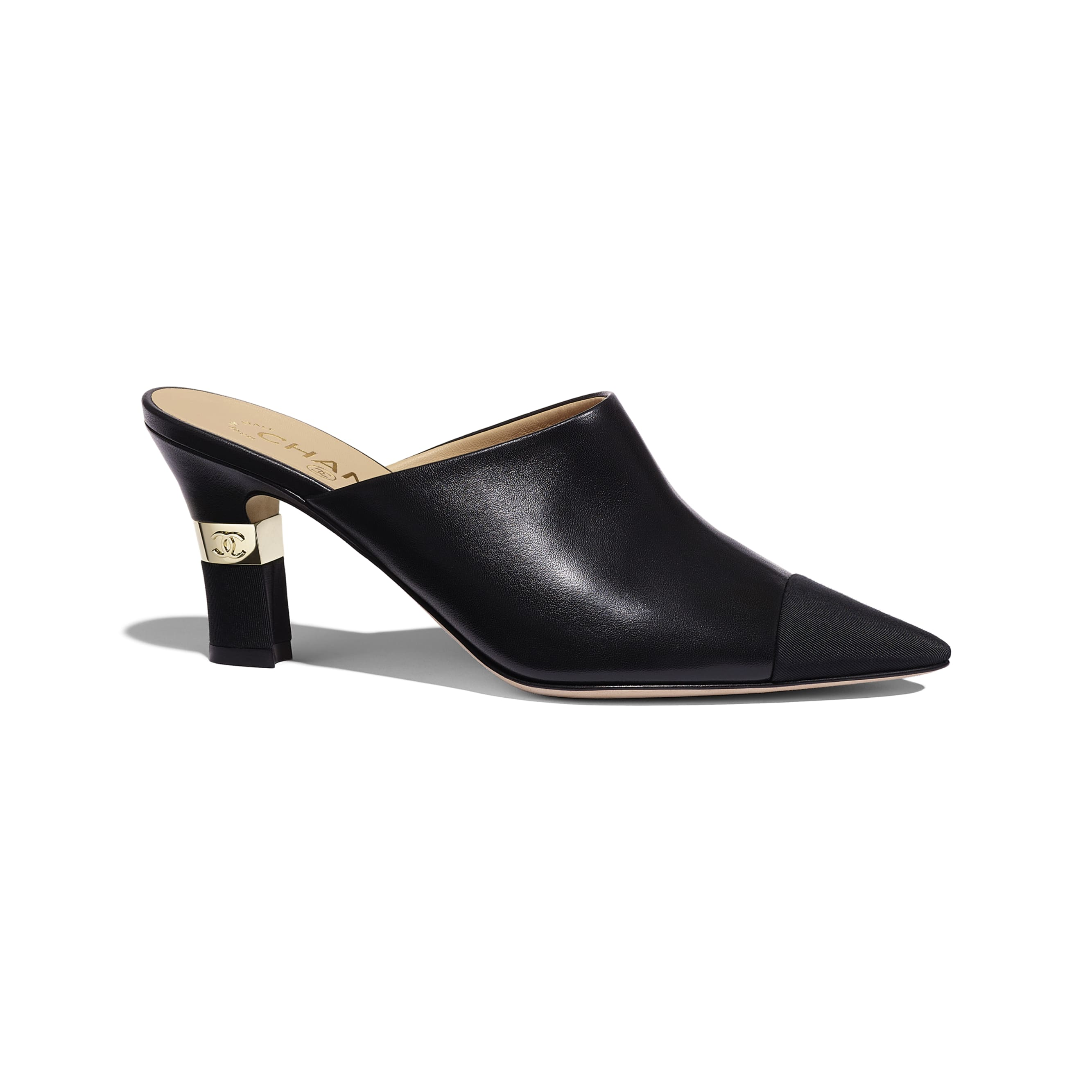 Mules - Black - Lambskin & Grosgrain - Default view - see standard sized version