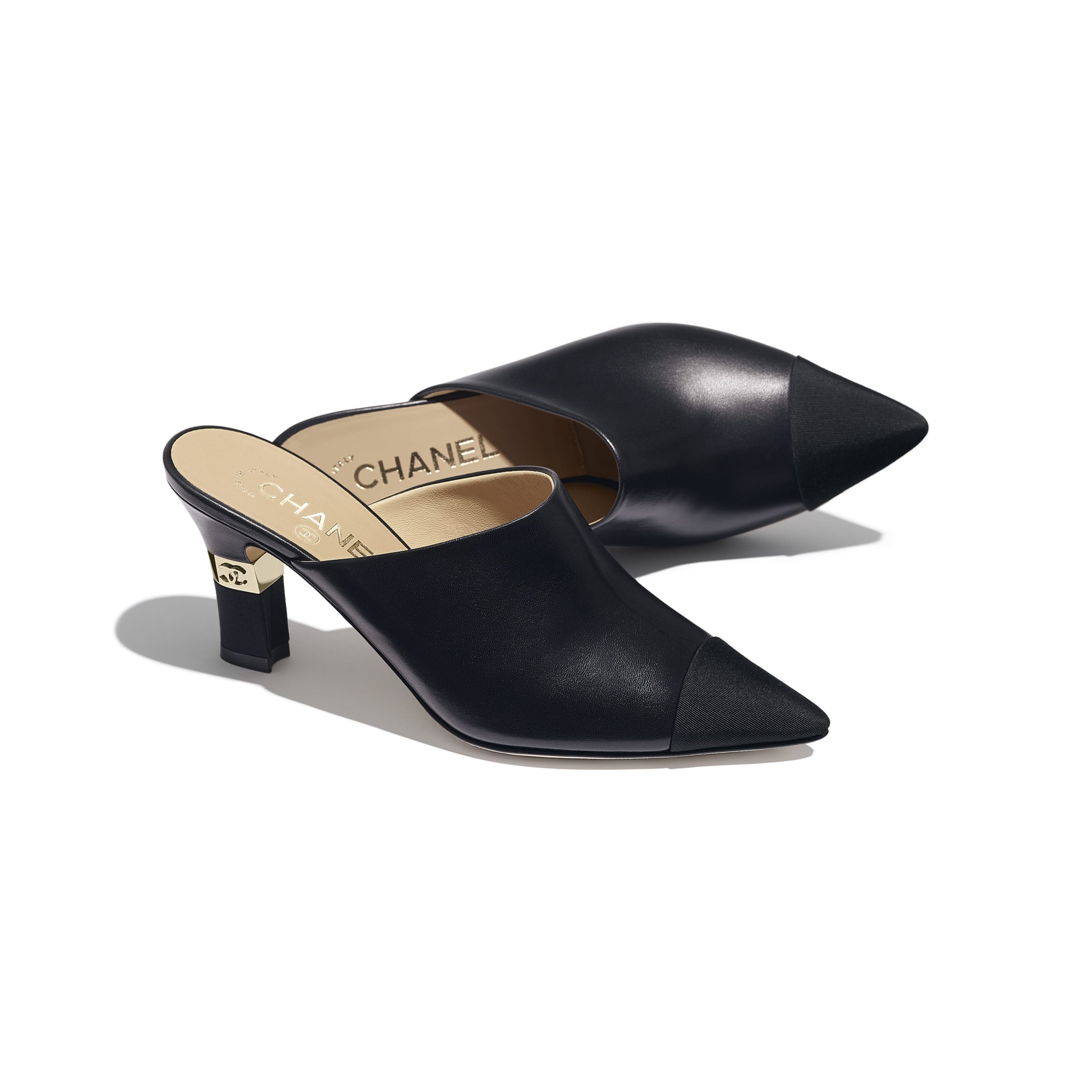 Mules - Black - Lambskin & Grosgrain - Extra view - see standard sized version