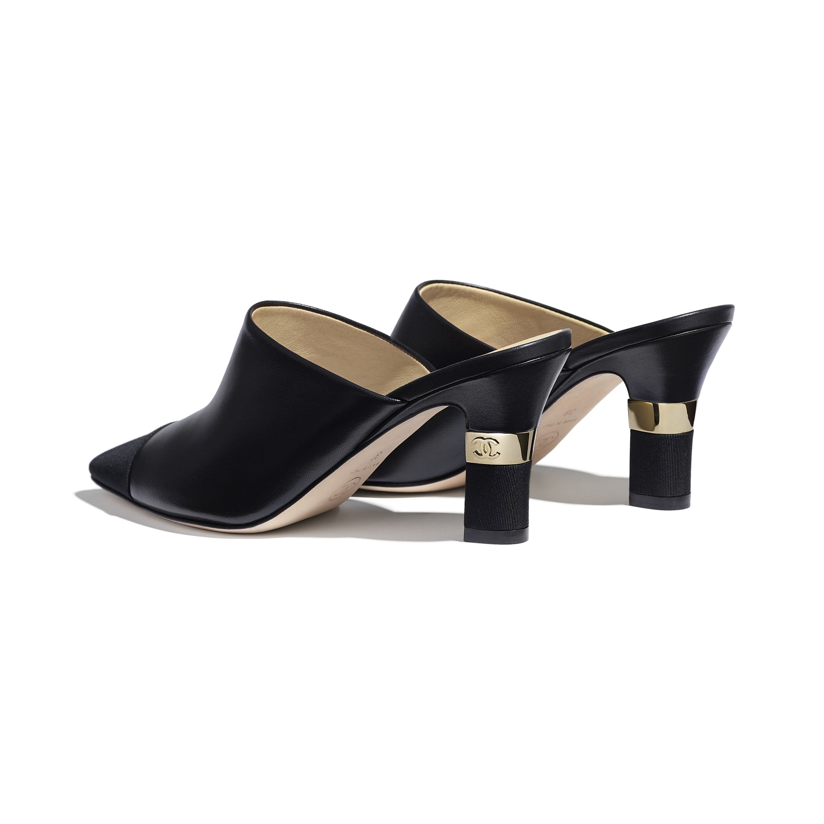 Mules - Black - Lambskin & Grosgrain - Other view - see standard sized version