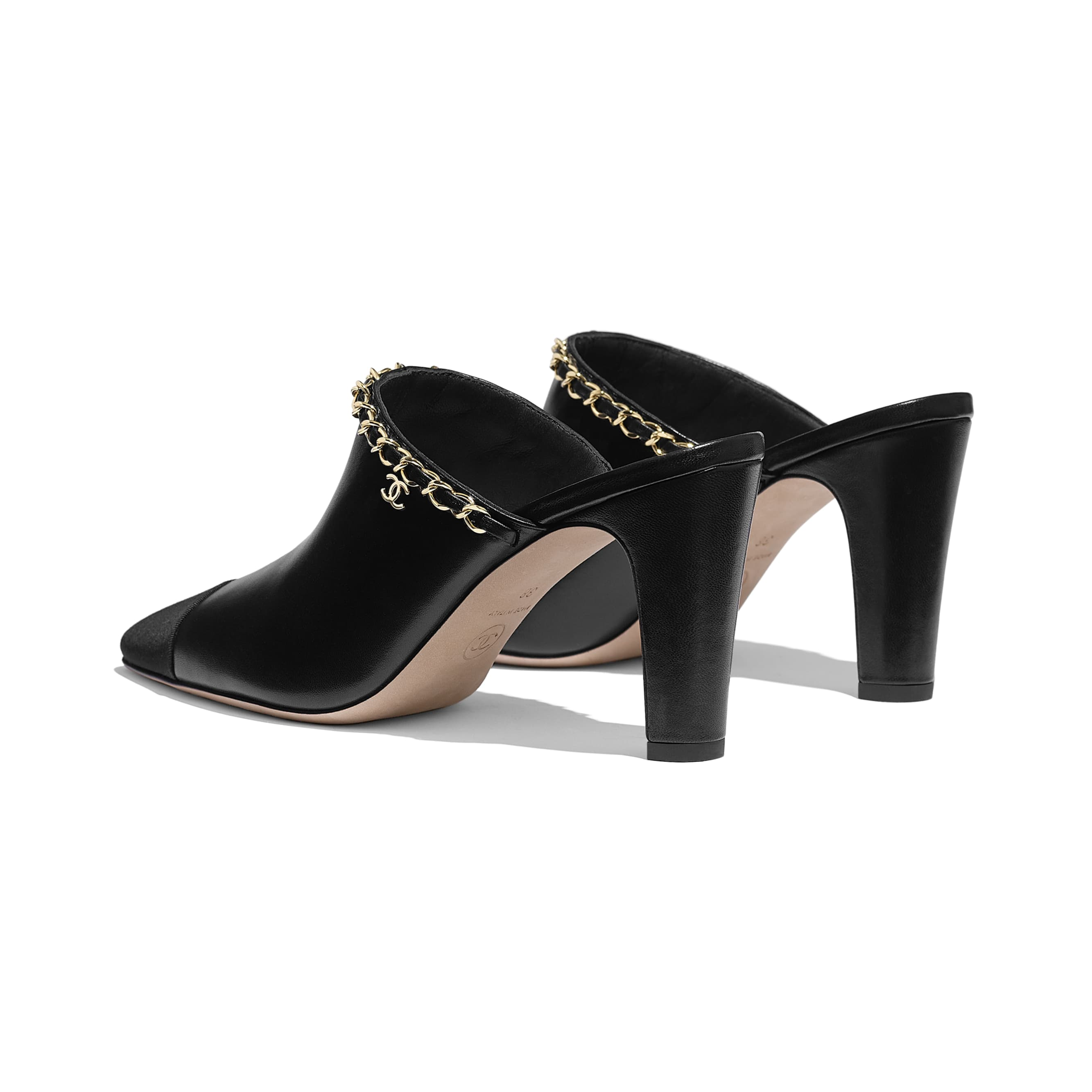 Mules - Black - Lambskin - CHANEL - Other view - see standard sized version