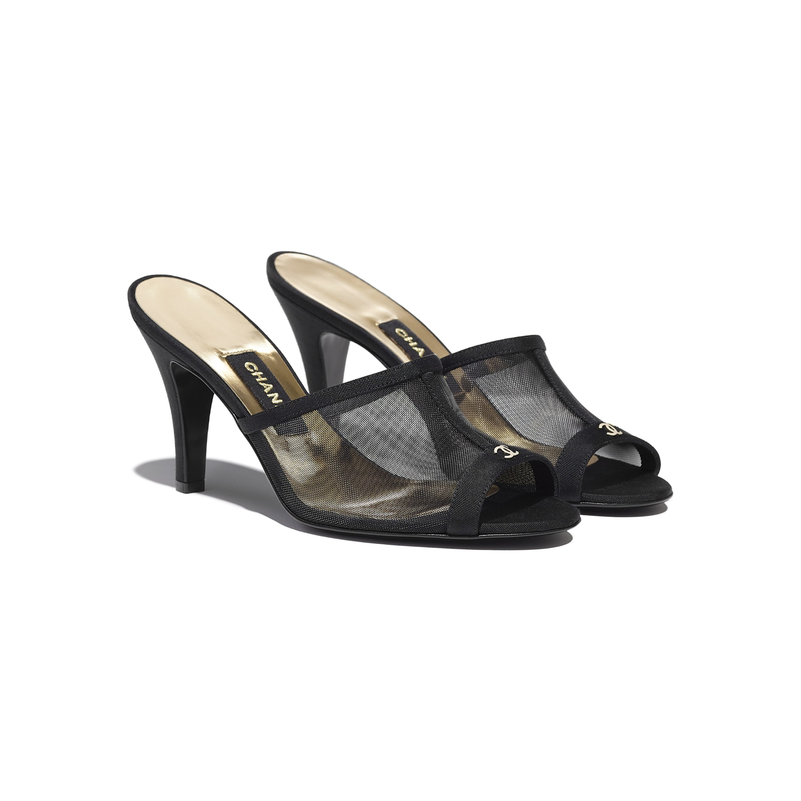 Mules - Black - Mesh & Grosgrain - CHANEL - Alternative view - see standard sized version