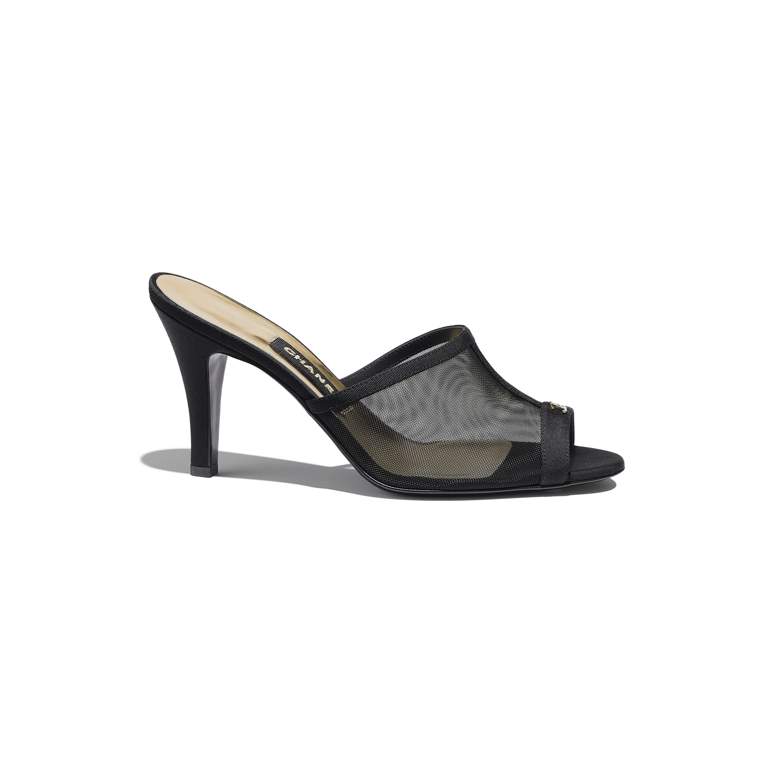 Mules - Black - Mesh & Grosgrain - CHANEL - Default view - see standard sized version
