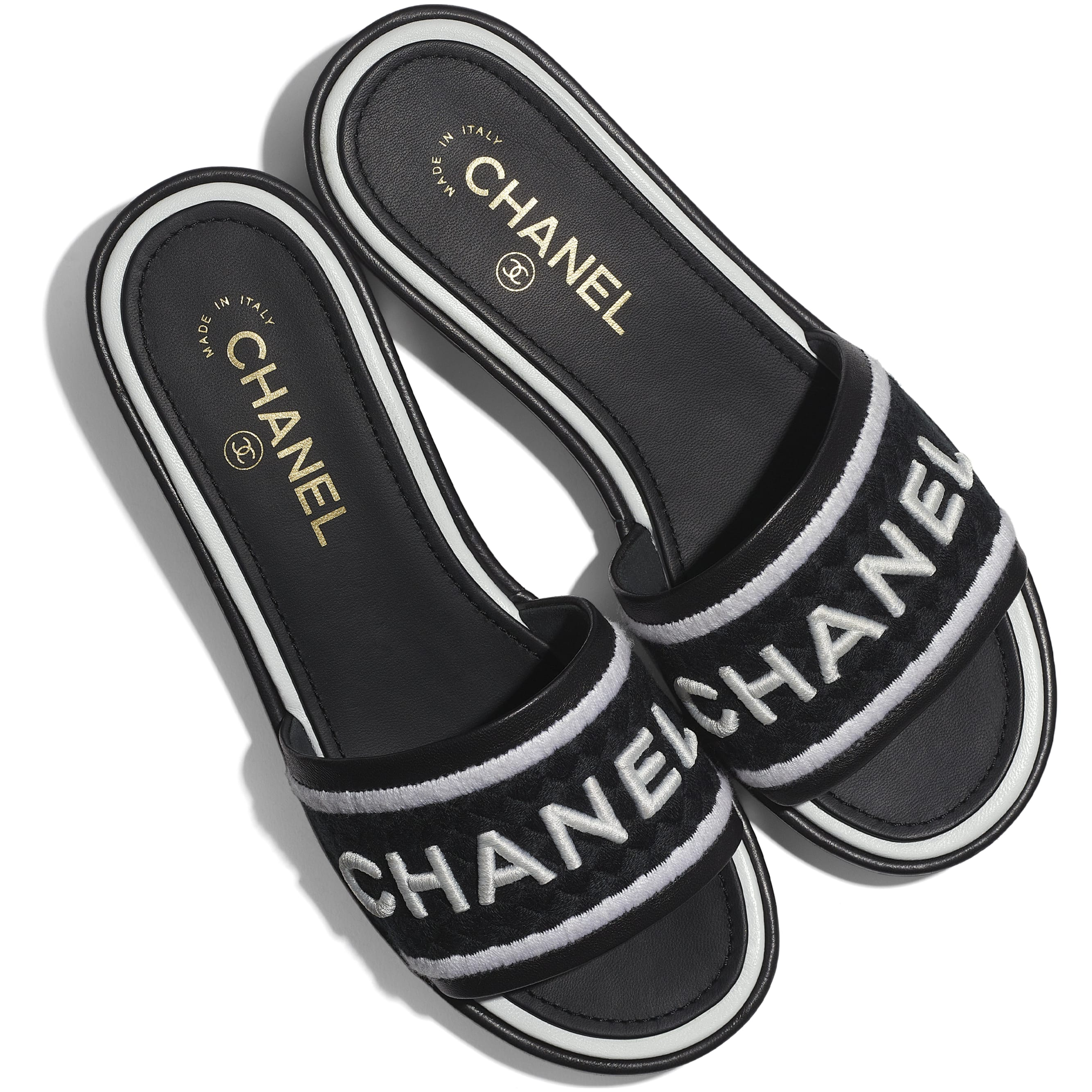 Mules - Black & White - Lambskin & Embroideries - CHANEL - Extra view - see standard sized version