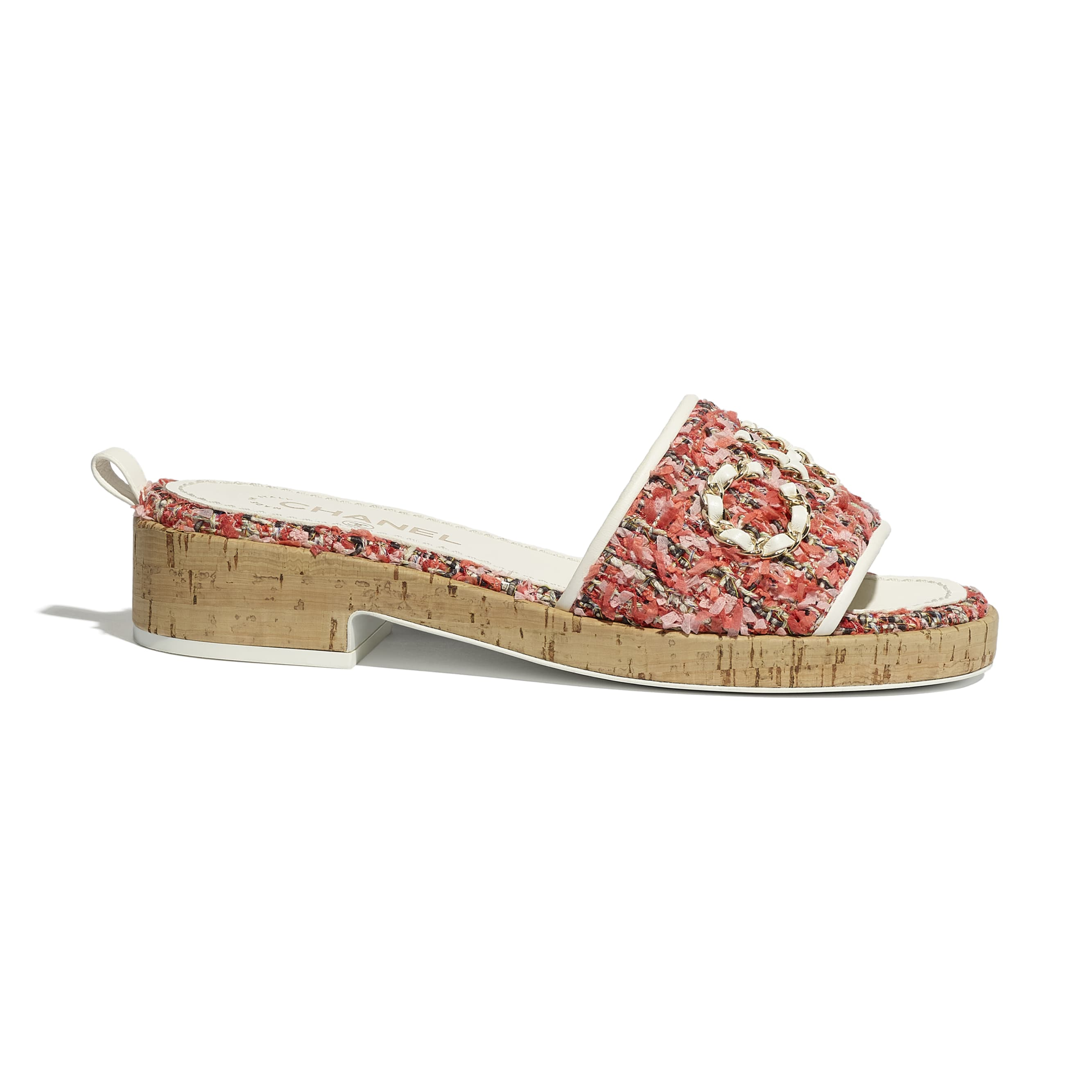 Mules - Coral, Red & Pink - Tweed - CHANEL - Default view - see standard sized version