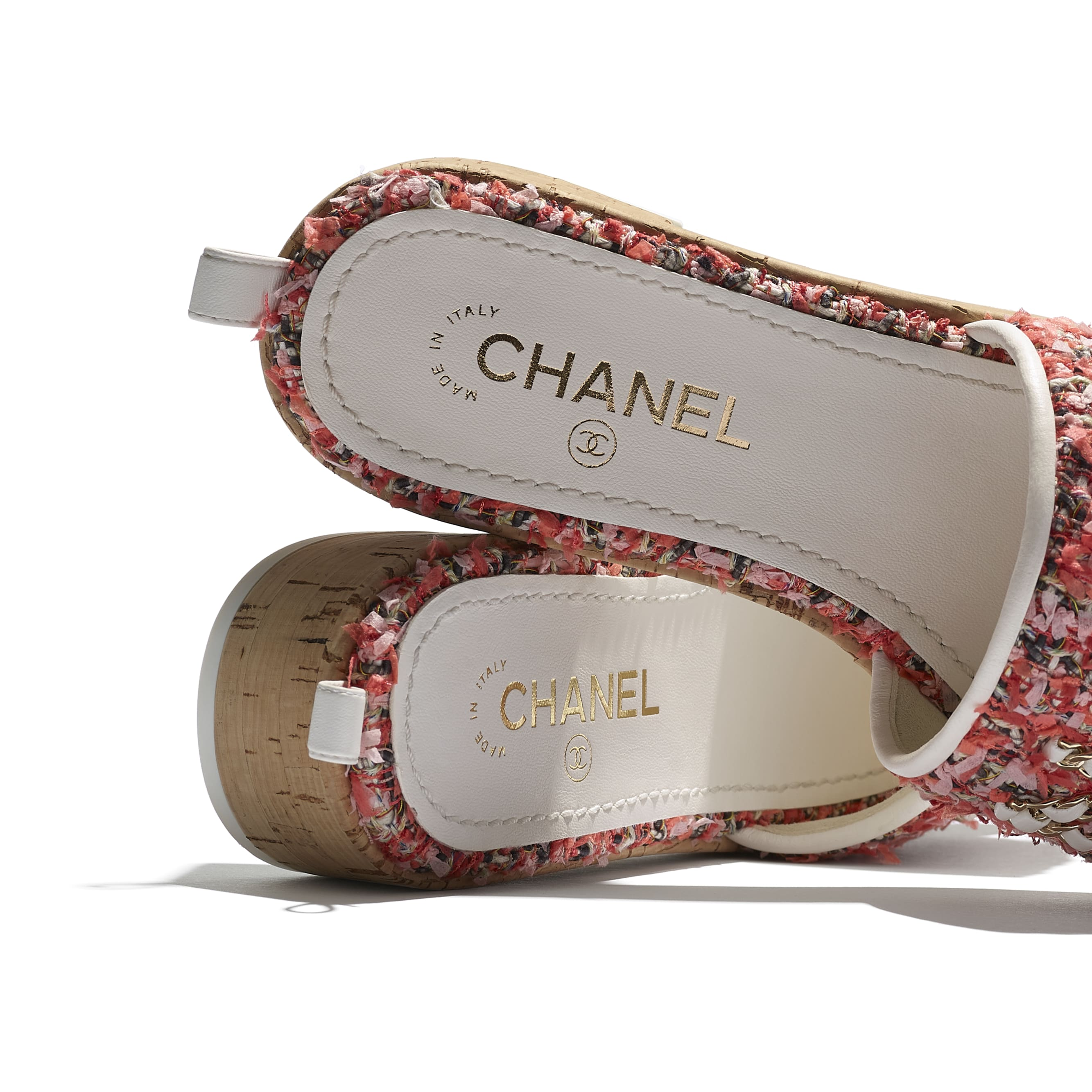 Mules - Coral, Red & Pink - Tweed - CHANEL - Extra view - see standard sized version