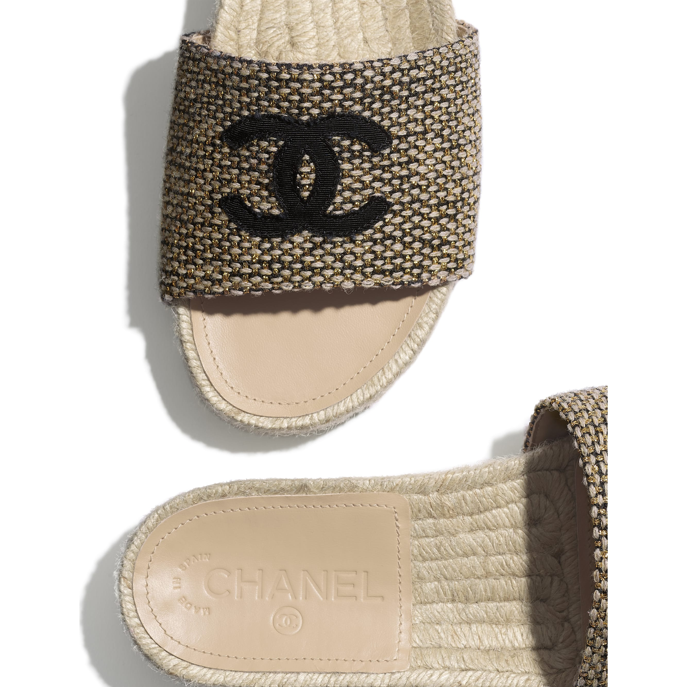 Mules - Gold, Beige & Black - Tweed & Grosgrain - CHANEL - Extra view - see standard sized version