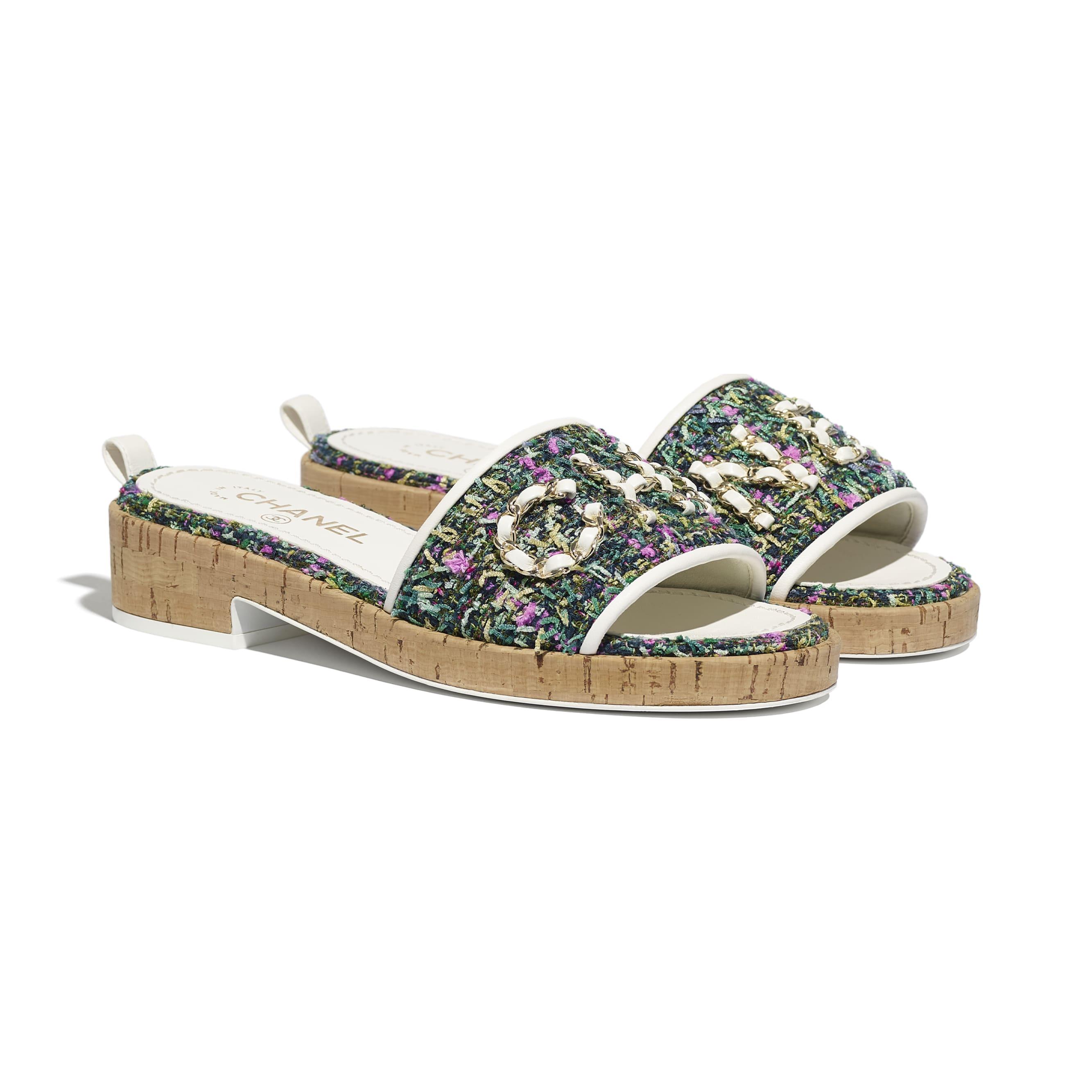 รองเท้าสวมเปิดส้น - สีเขียว สีชมพู และสีเหลือง - ผ้าทวีต - CHANEL - มุมมองทางอื่น - ดูเวอร์ชันขนาดมาตรฐาน