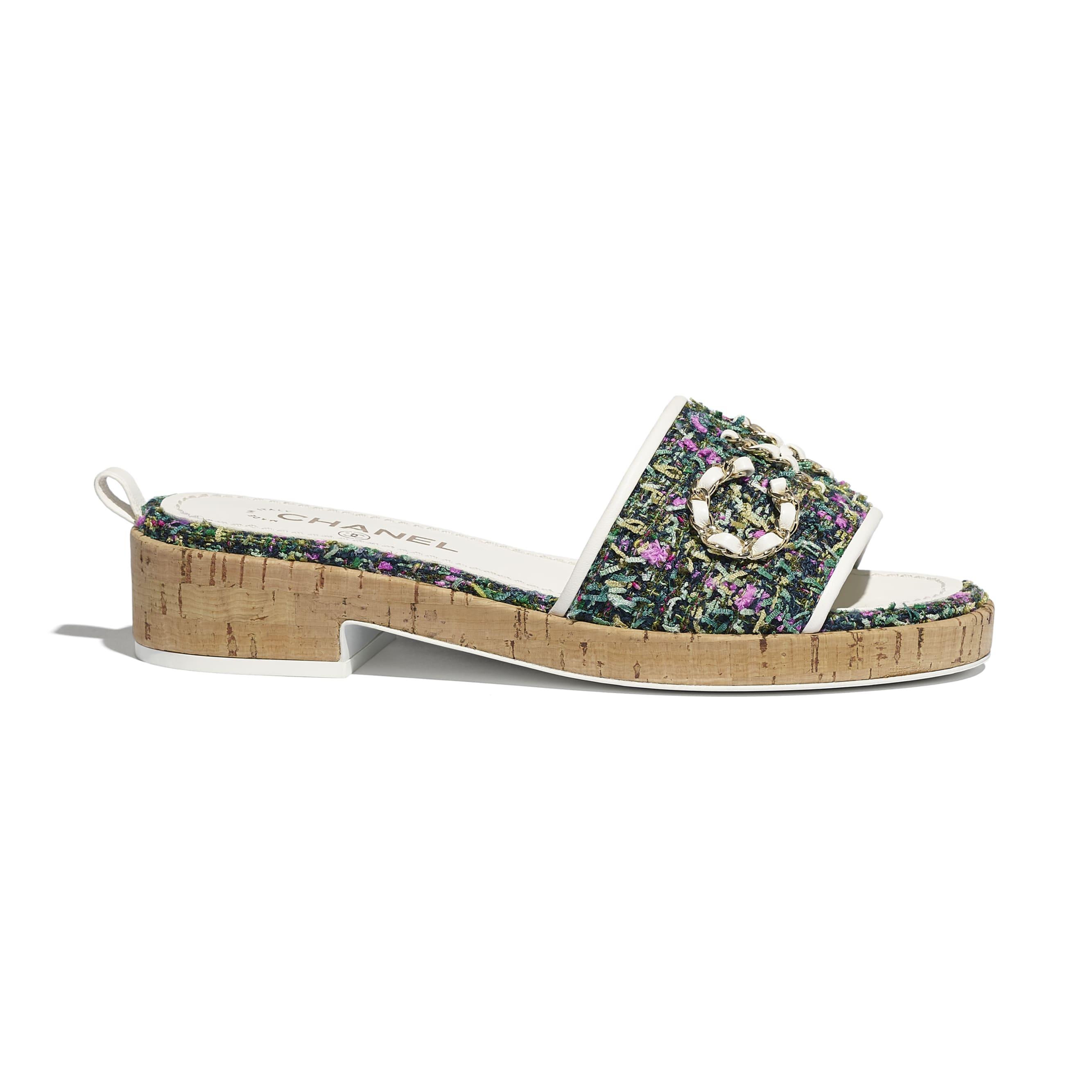 蜜兒拖鞋 - 綠、粉紅 & 黃 - 斜紋軟呢 - CHANEL - 預設視圖 - 查看標準尺寸版本