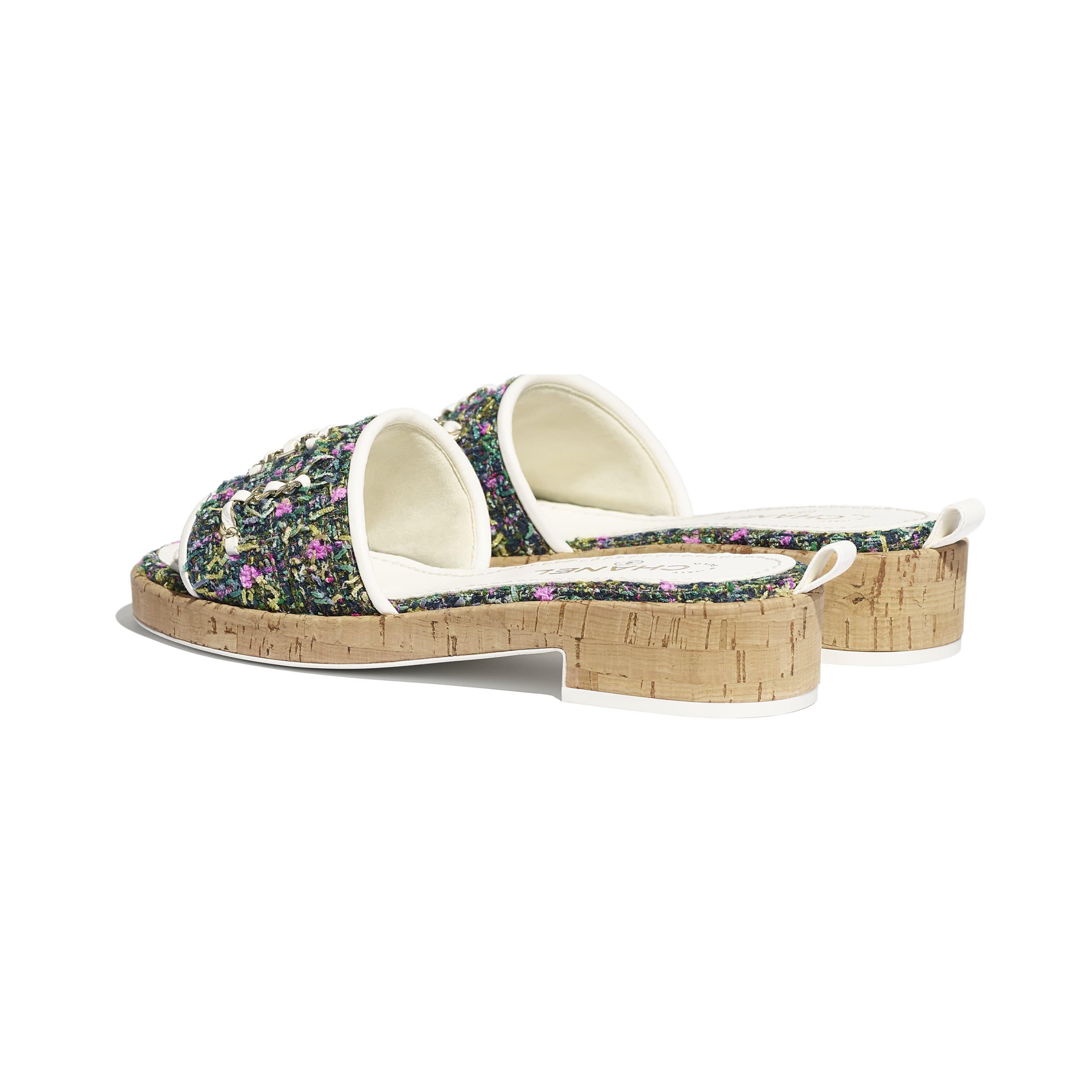 蜜兒拖鞋 - 綠、粉紅 & 黃 - 斜紋軟呢 - CHANEL - 其他視圖 - 查看標準尺寸版本