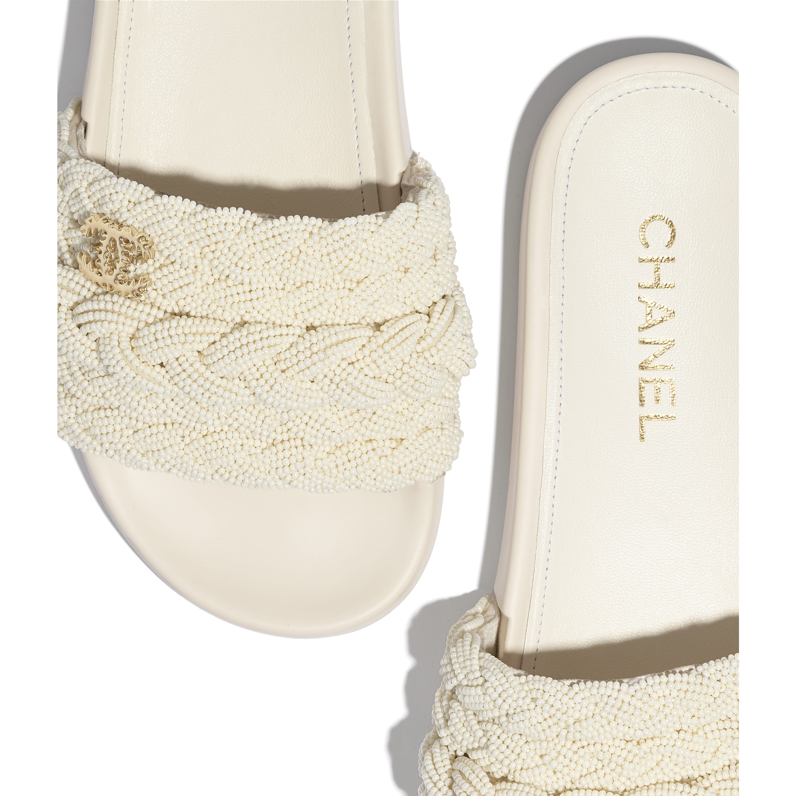 Mules - Ivory - Pearls & Lambskin - CHANEL - Extra view - see standard sized version