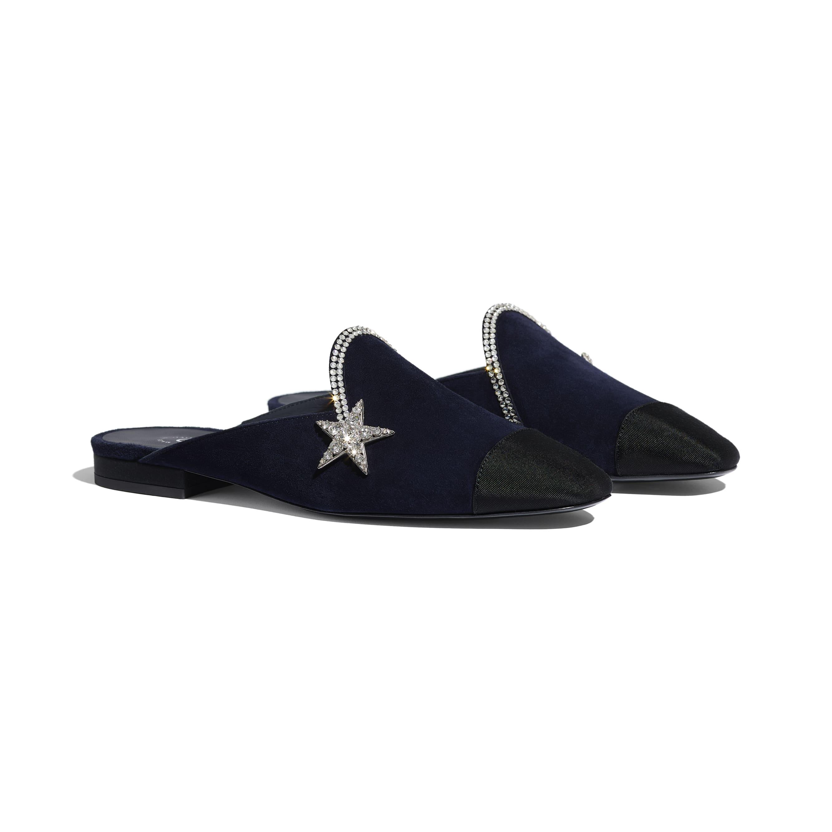 Mules - Navy Blue & Black - Suede Calfskin & Grosgrain - CHANEL - Alternative view - see standard sized version