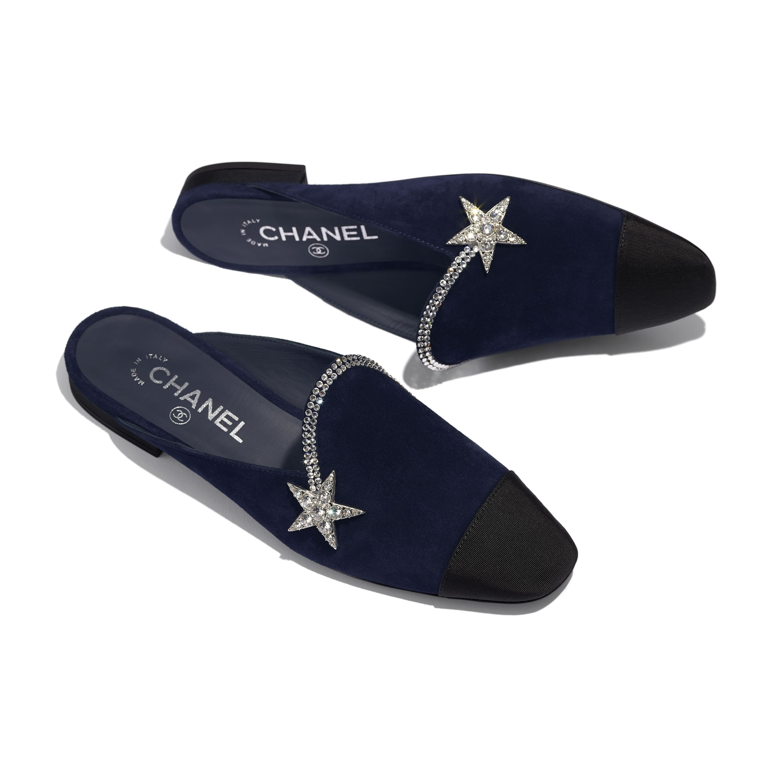 Mules - Navy Blue & Black - Suede Calfskin & Grosgrain - CHANEL - Extra view - see standard sized version