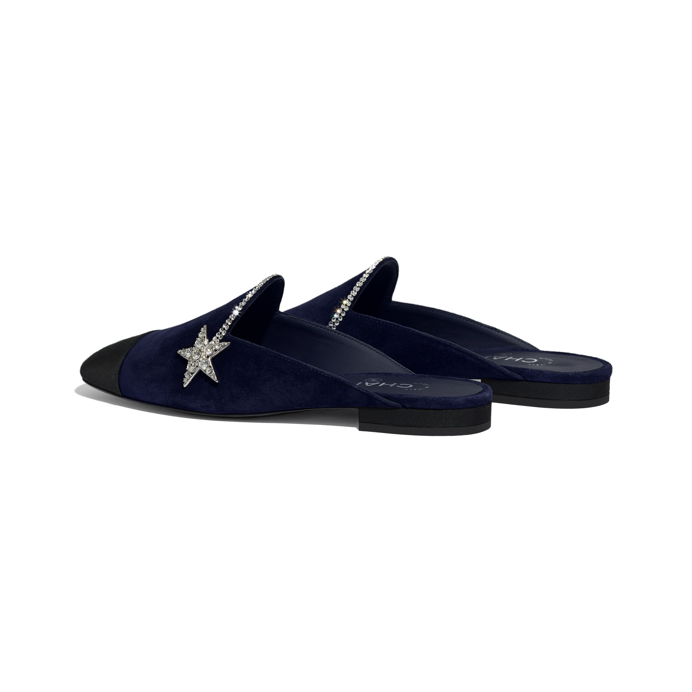 Mules - Navy Blue & Black - Suede Calfskin & Grosgrain - CHANEL - Other view - see standard sized version