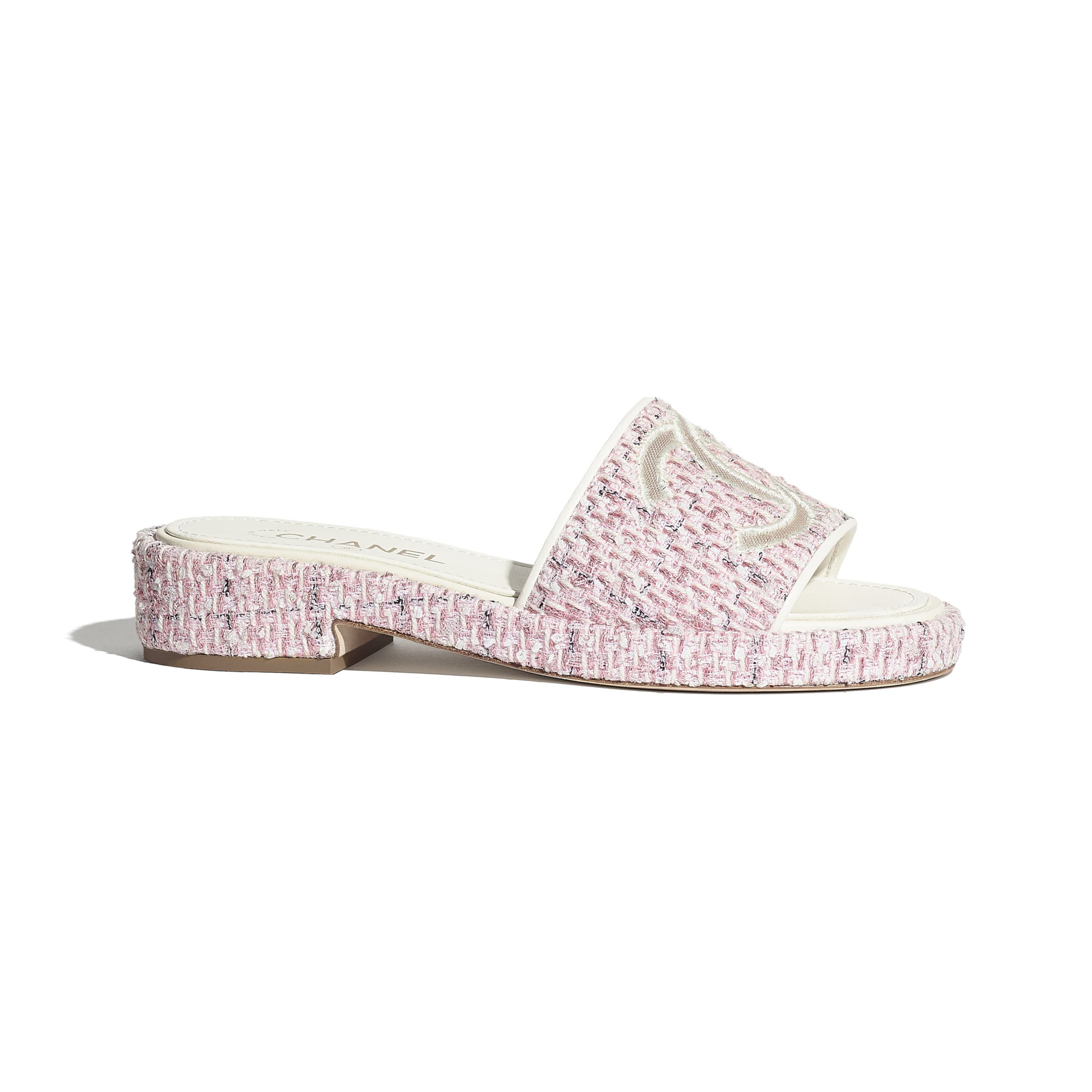 Mules - Pink - Tweed & Mesh - CHANEL - Default view - see standard sized version