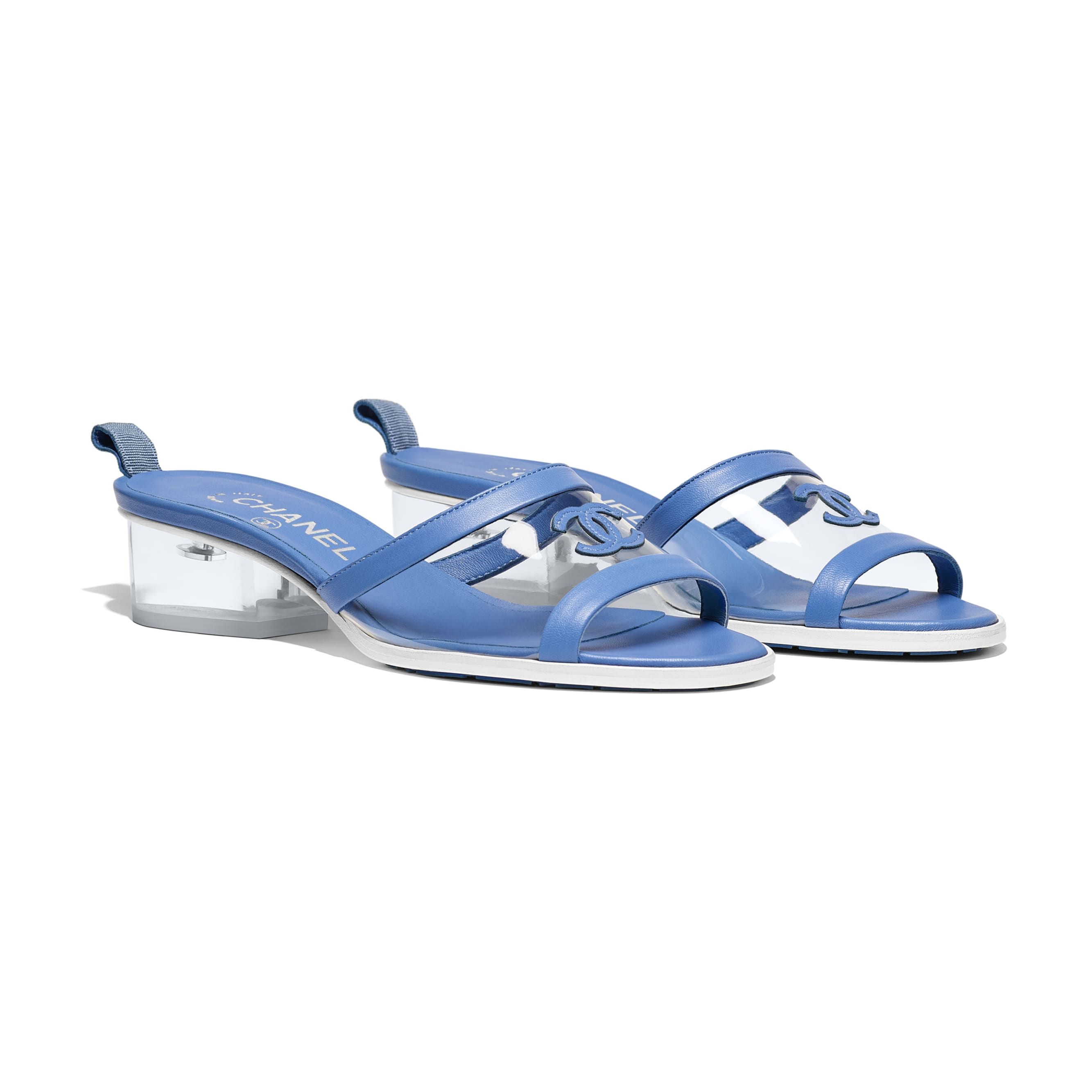 Mules - Transparent & Blue - PVC & Lambskin - Alternative view - see standard sized version