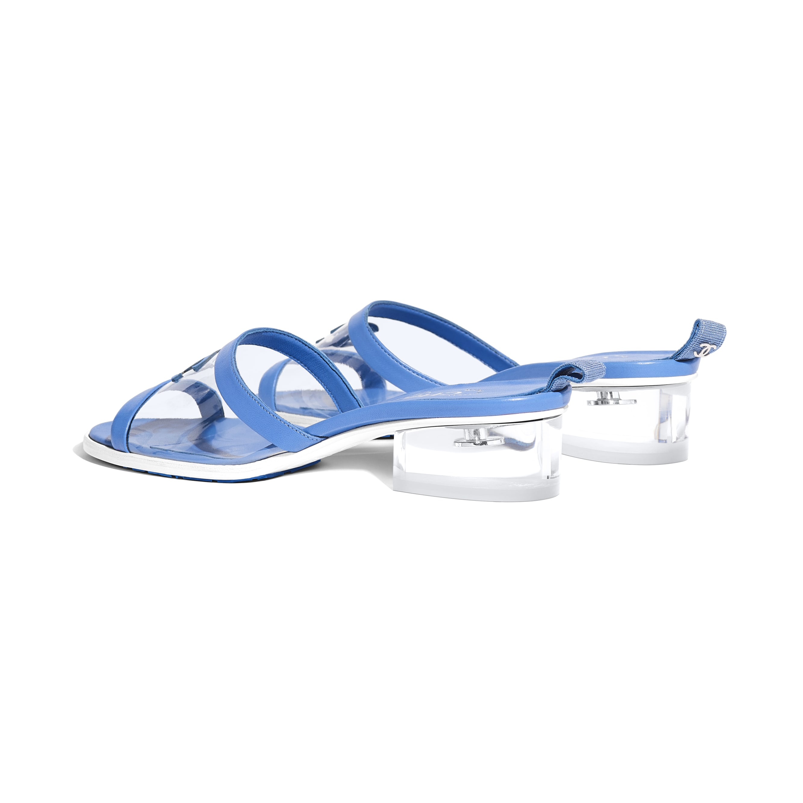 Mules - Transparent & Blue - PVC & Lambskin - Other view - see standard sized version