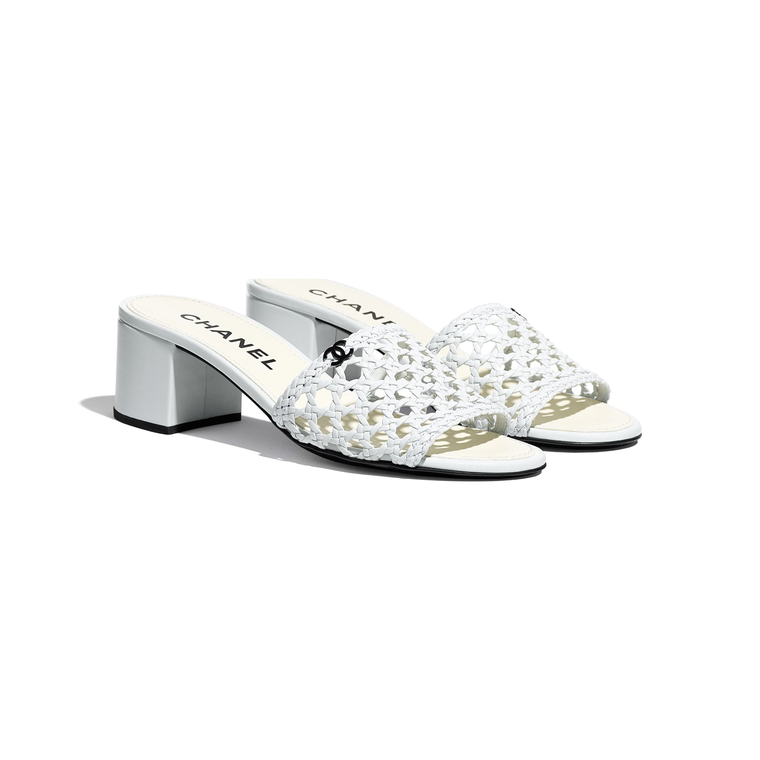 Mules - White - Shiny Braided Goatskin - CHANEL - Alternative view - see standard sized version