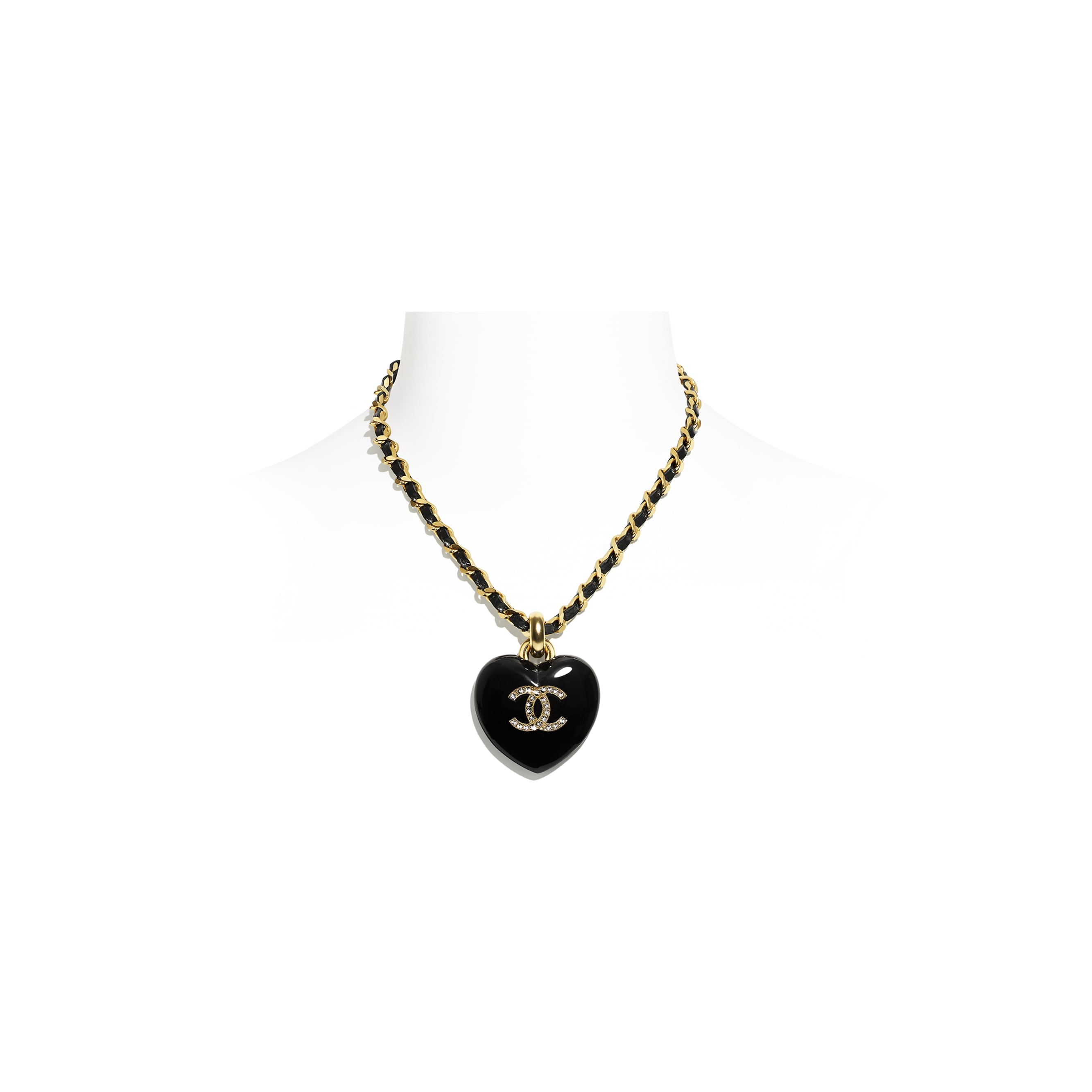 Necklace - Black, Crystal & Gold - Metal, calfskin, diamanté & resin - CHANEL - Default view - see standard sized version