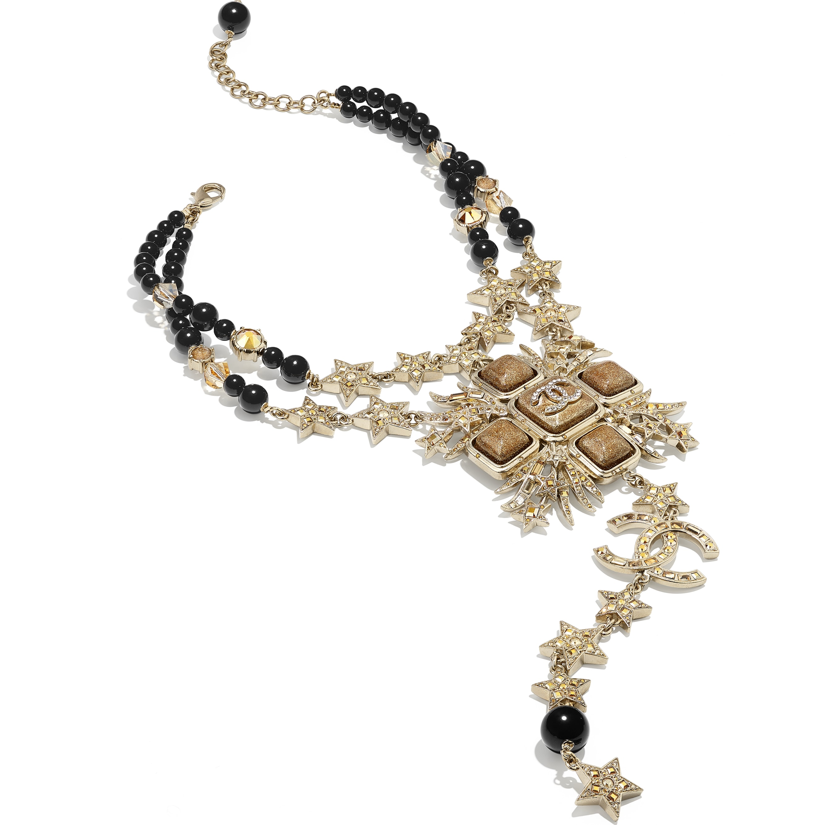 Necklace - Gold, Black & Crystal - Metal, Glass Pearls, Glass & Strass - CHANEL - Alternative view - see standard sized version