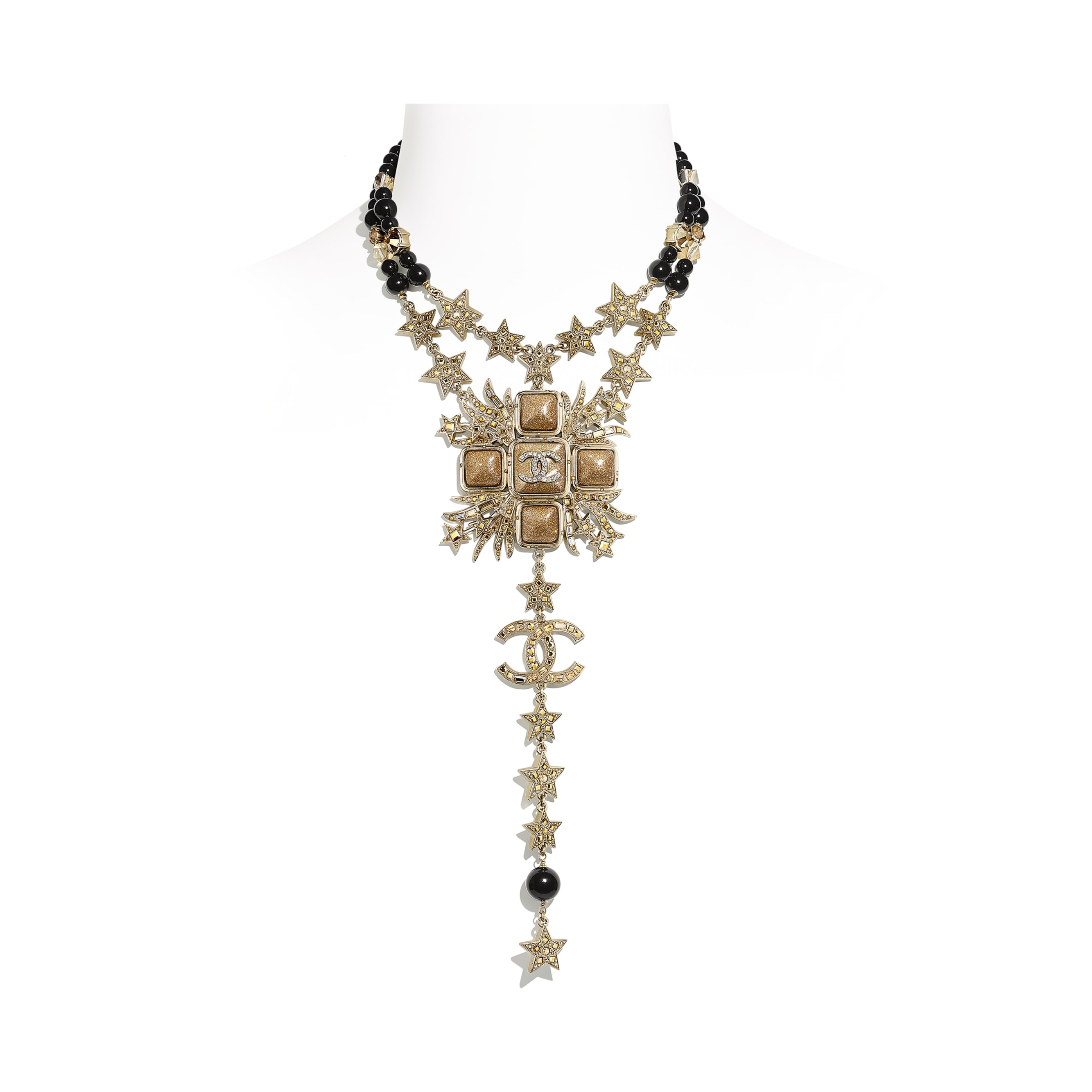 Necklace - Gold, Black & Crystal - Metal, Glass Pearls, Glass & Strass - CHANEL - Default view - see standard sized version