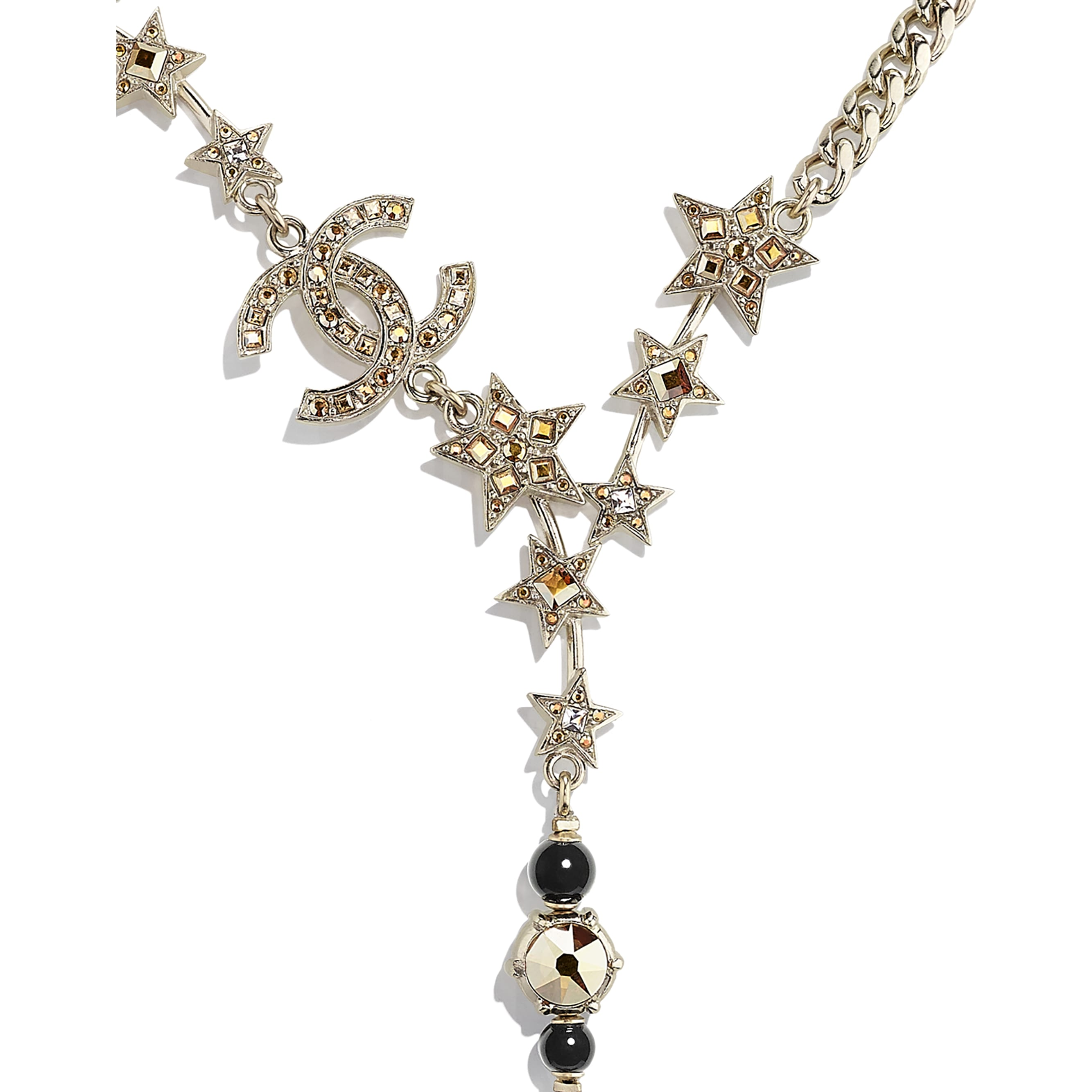 Necklace - Gold, Black & Crystal - Metal, Glass Pearls & Strass - CHANEL - Other view - see standard sized version