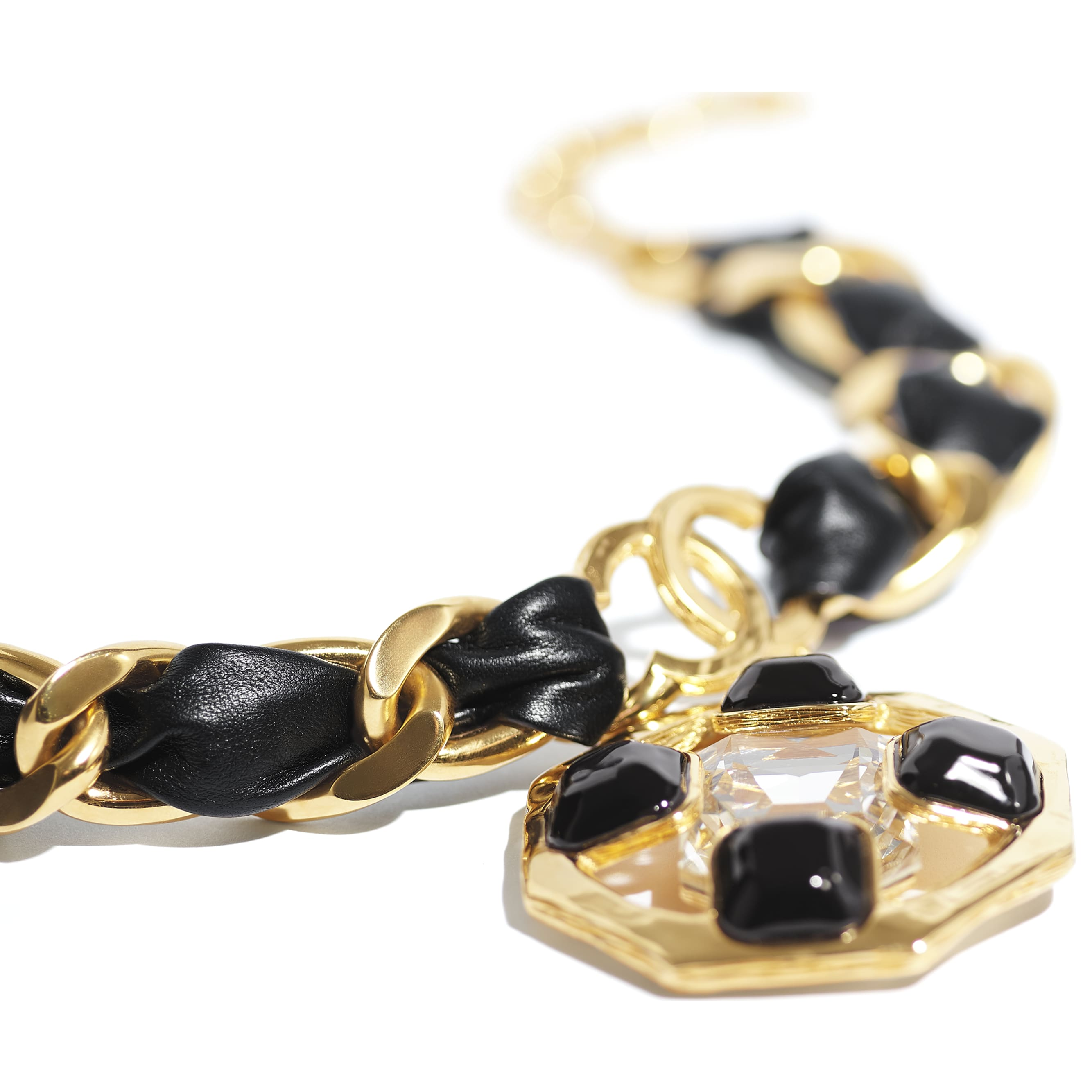 Necklace - Gold, Black & Crystal - Metal, lambskin, diamanté & resin - CHANEL - Alternative view - see standard sized version
