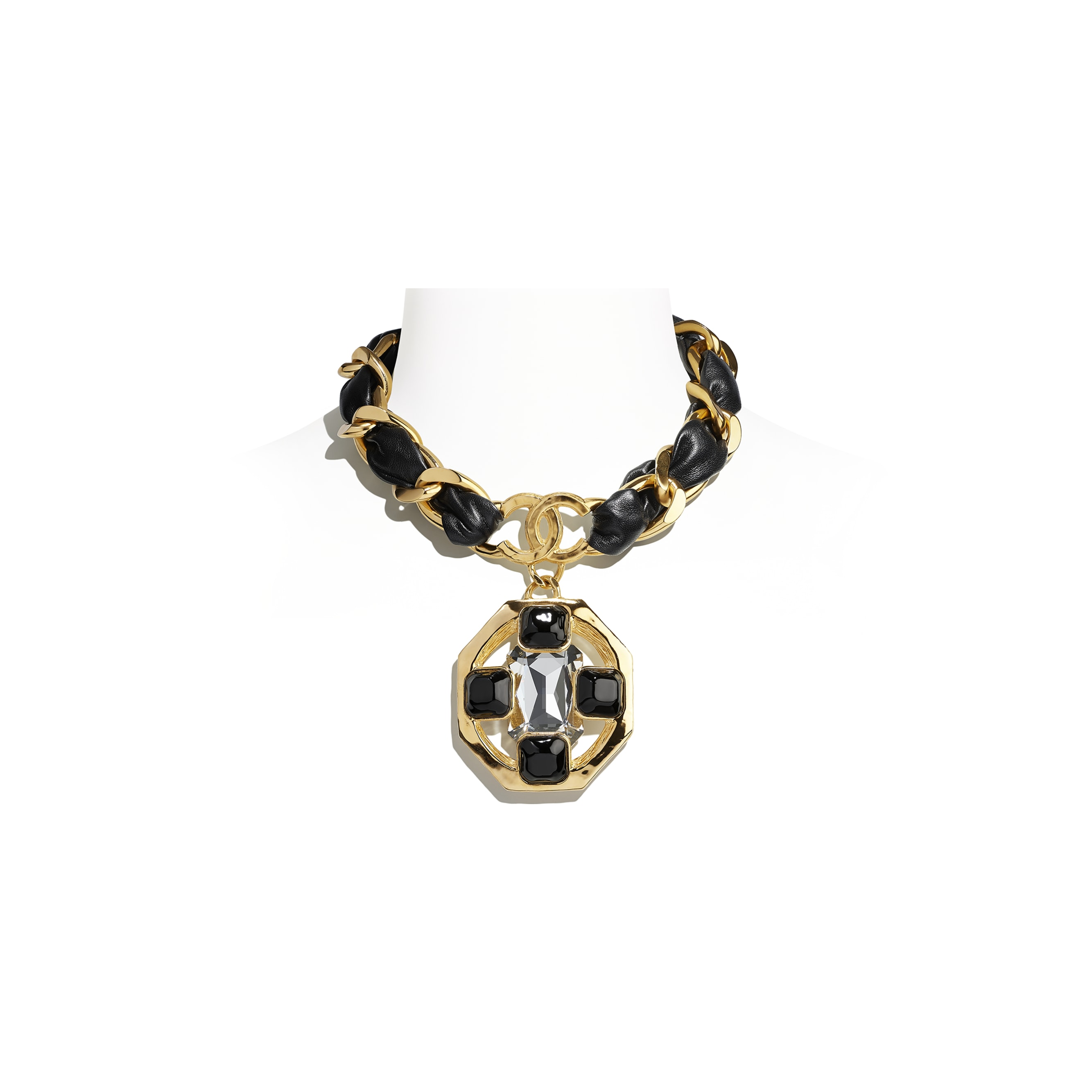 Necklace - Gold, Black & Crystal - Metal, lambskin, diamanté & resin - CHANEL - Default view - see standard sized version