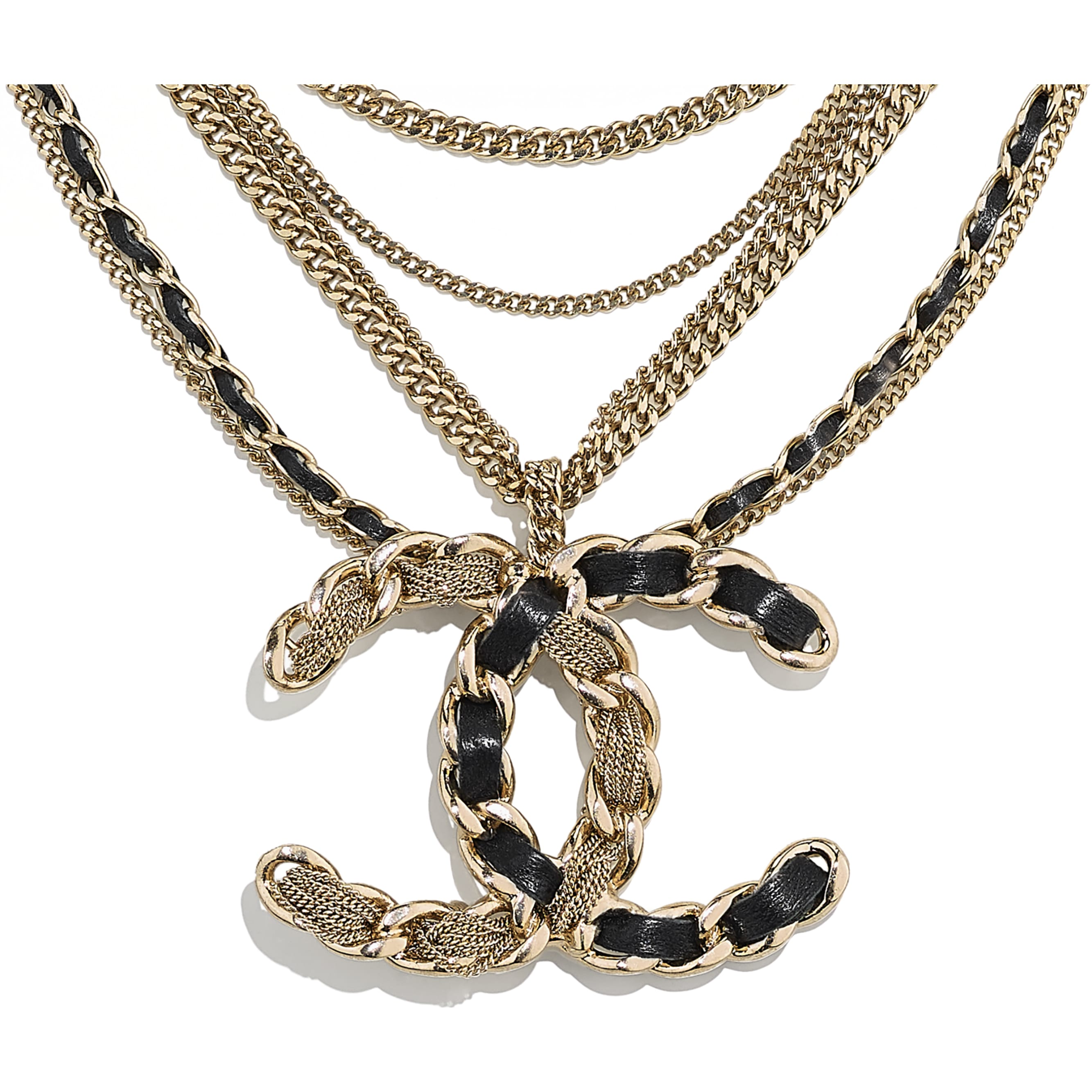 Necklace - Gold & Black - Metal & Calfskin - CHANEL - Other view - see standard sized version