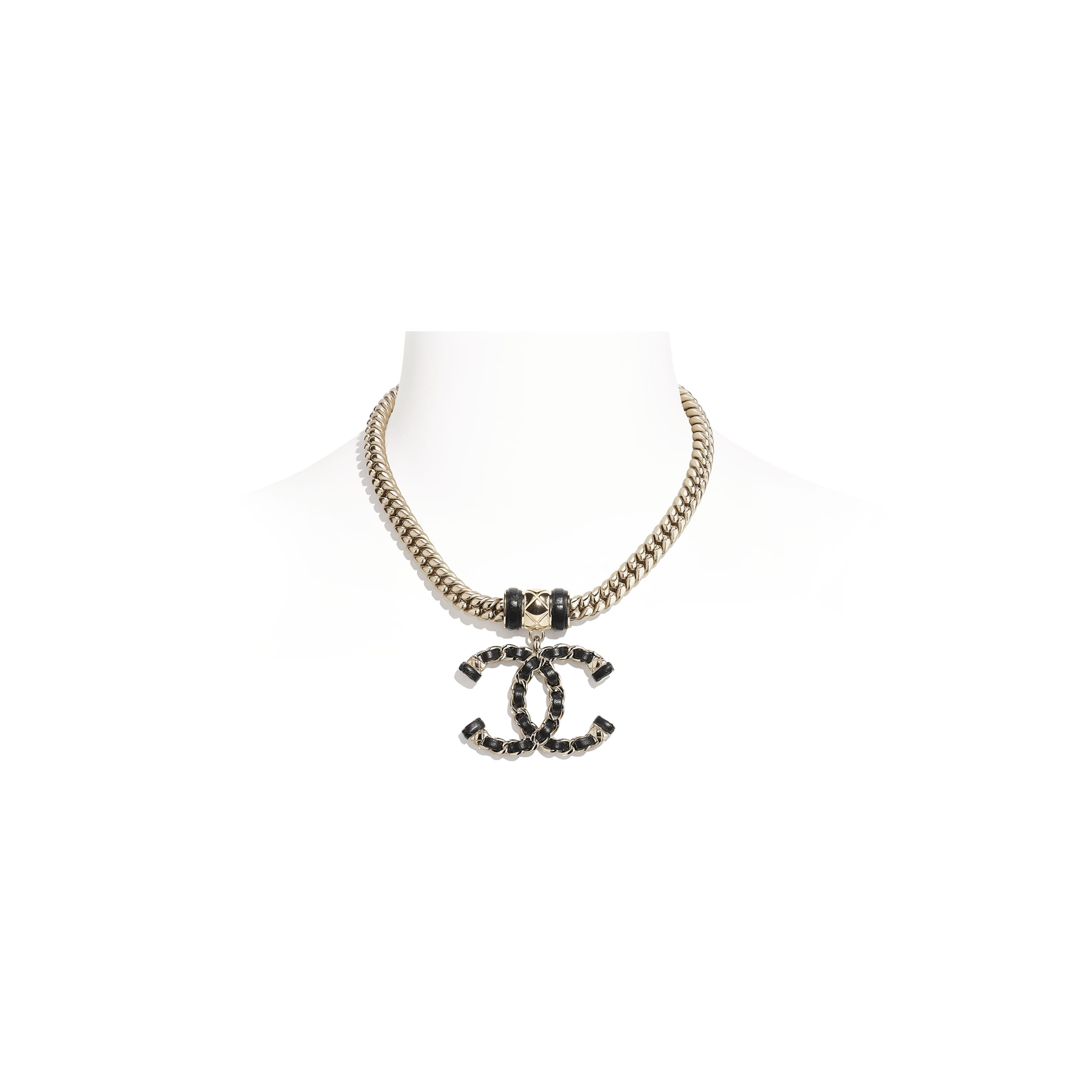 Necklace - Gold & Black - Metal & Lambskin - CHANEL - Default view - see standard sized version