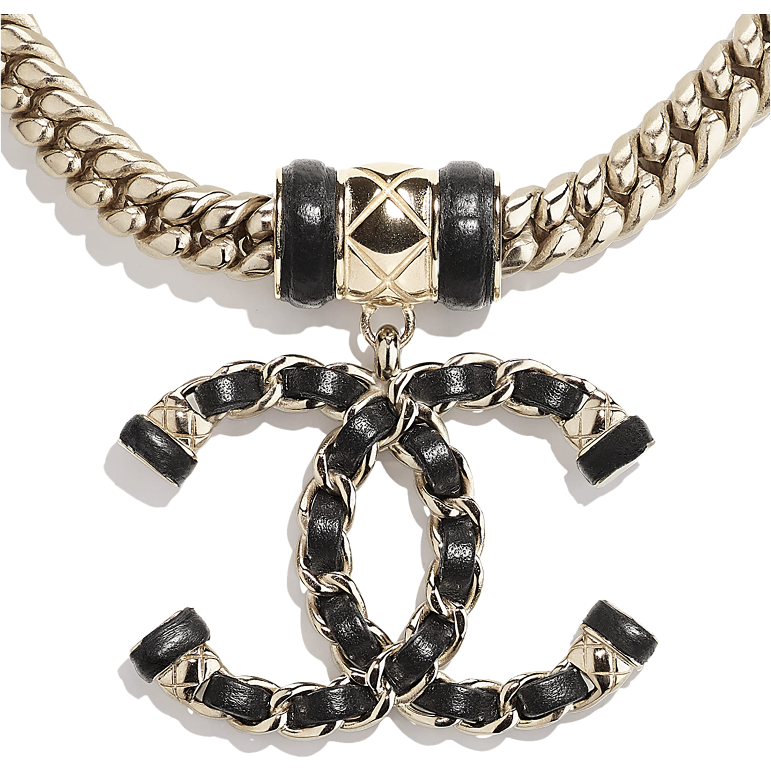 Necklace - Gold & Black - Metal & Lambskin - CHANEL - Other view - see standard sized version