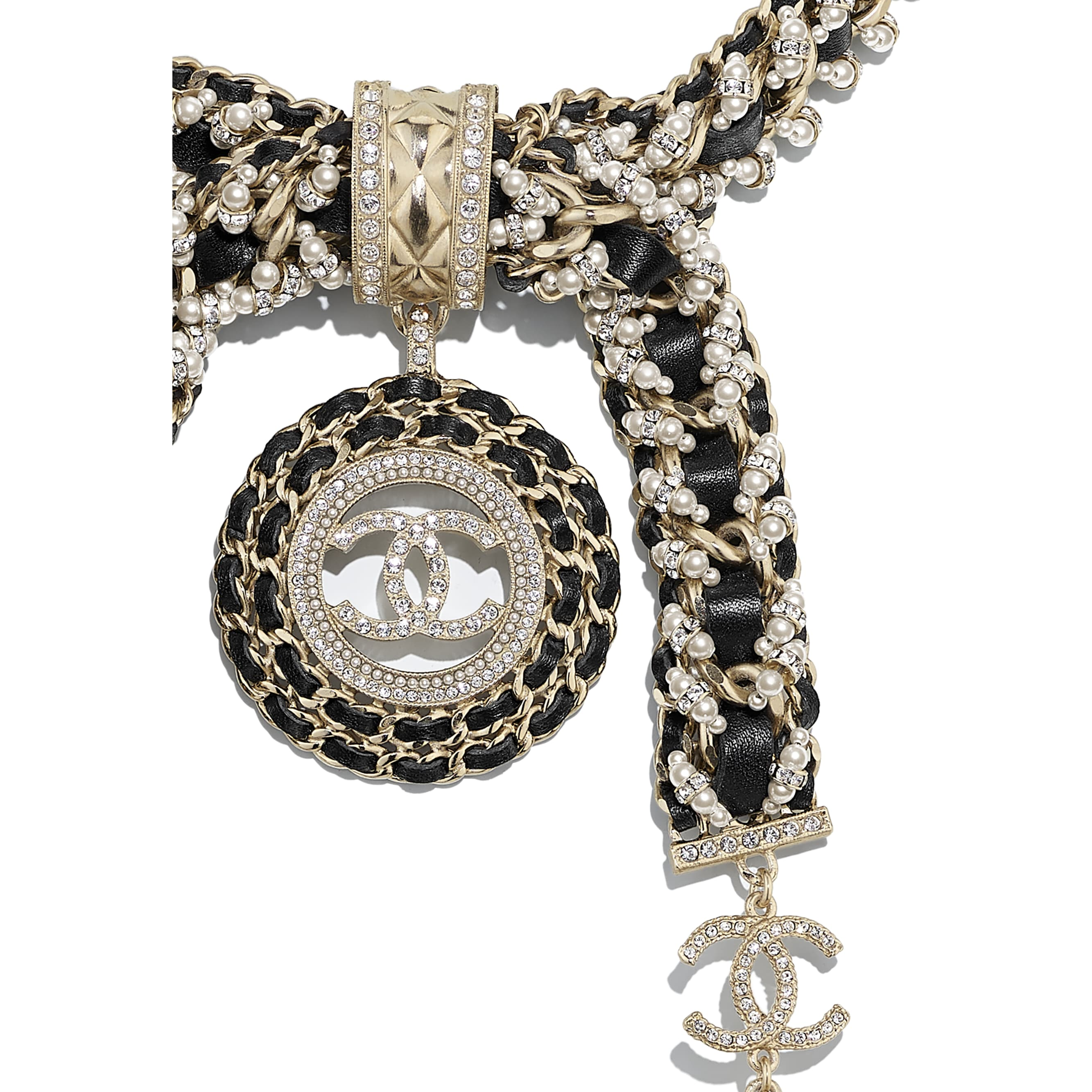 Necklace - Gold, Black, Pearly White & Crystal - Metal, Calfskin, Glass Pearls & Strass - CHANEL - Other view - see standard sized version