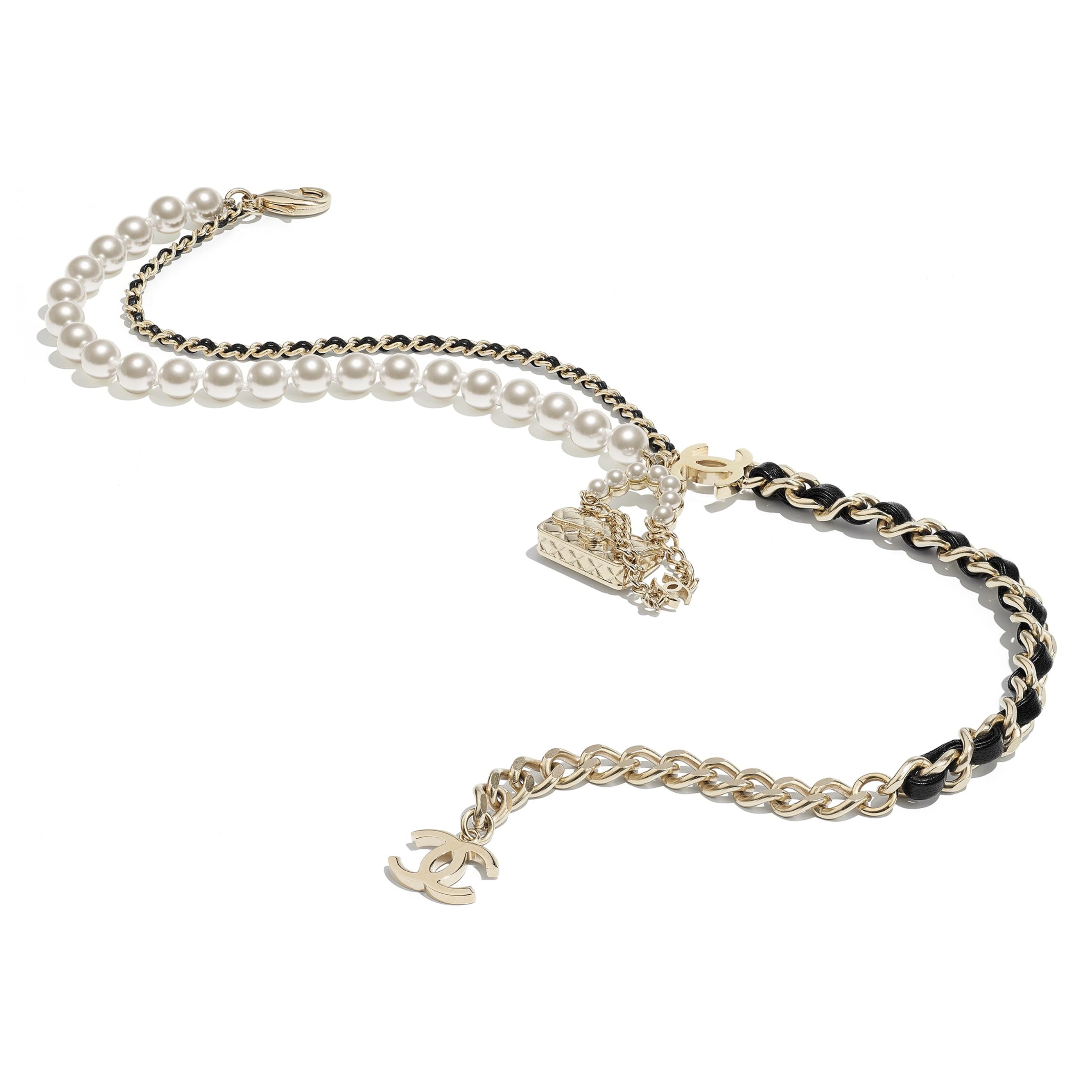 Collana - Oro, nero & bianco perlato - Metallo, pelle di agnello & perle in pasta di vetro - CHANEL - Immagine diversa - vedere versione standard