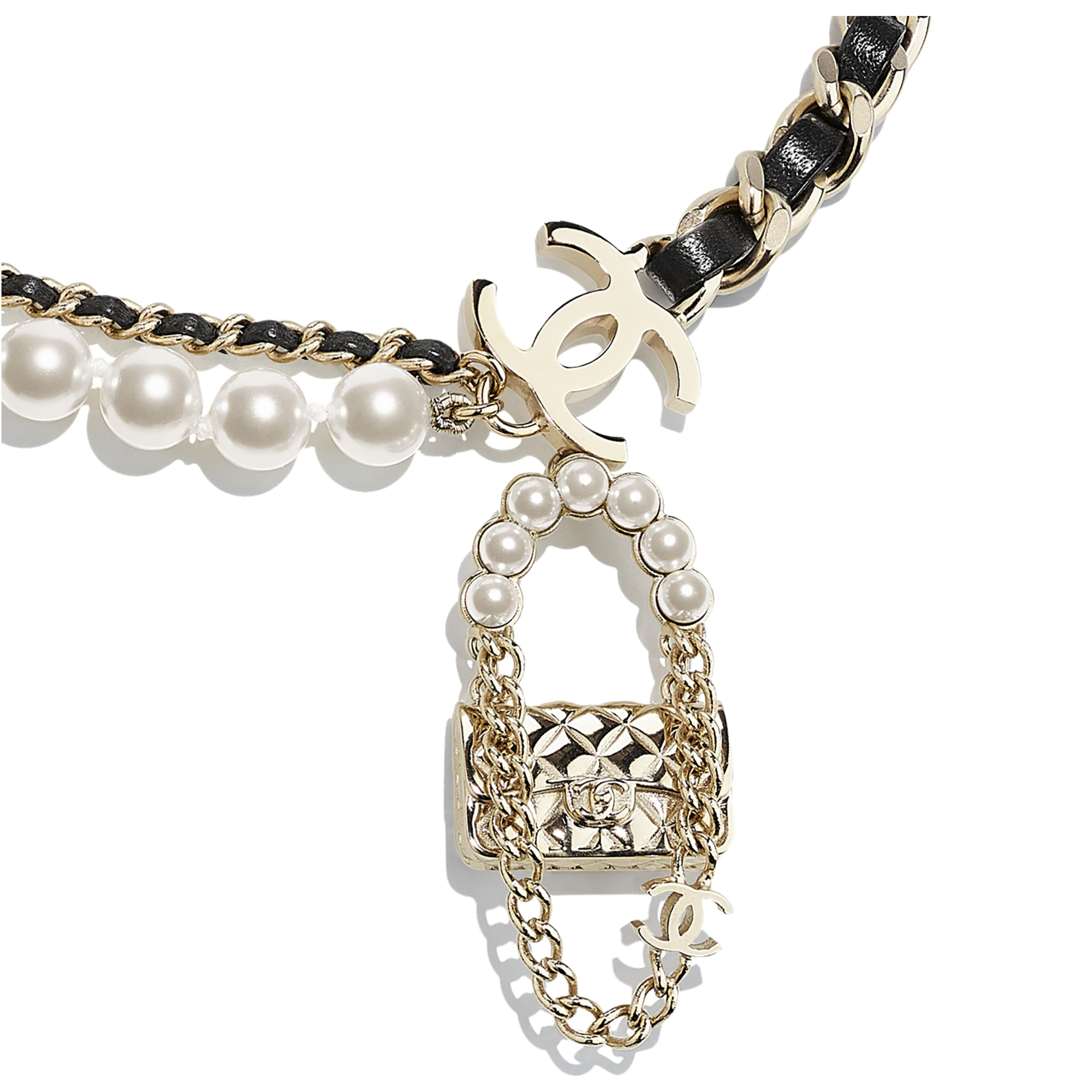 Necklace - Gold, Black & Pearly White - Metal, Lambskin & Glass Pearls - CHANEL - Other view - see standard sized version