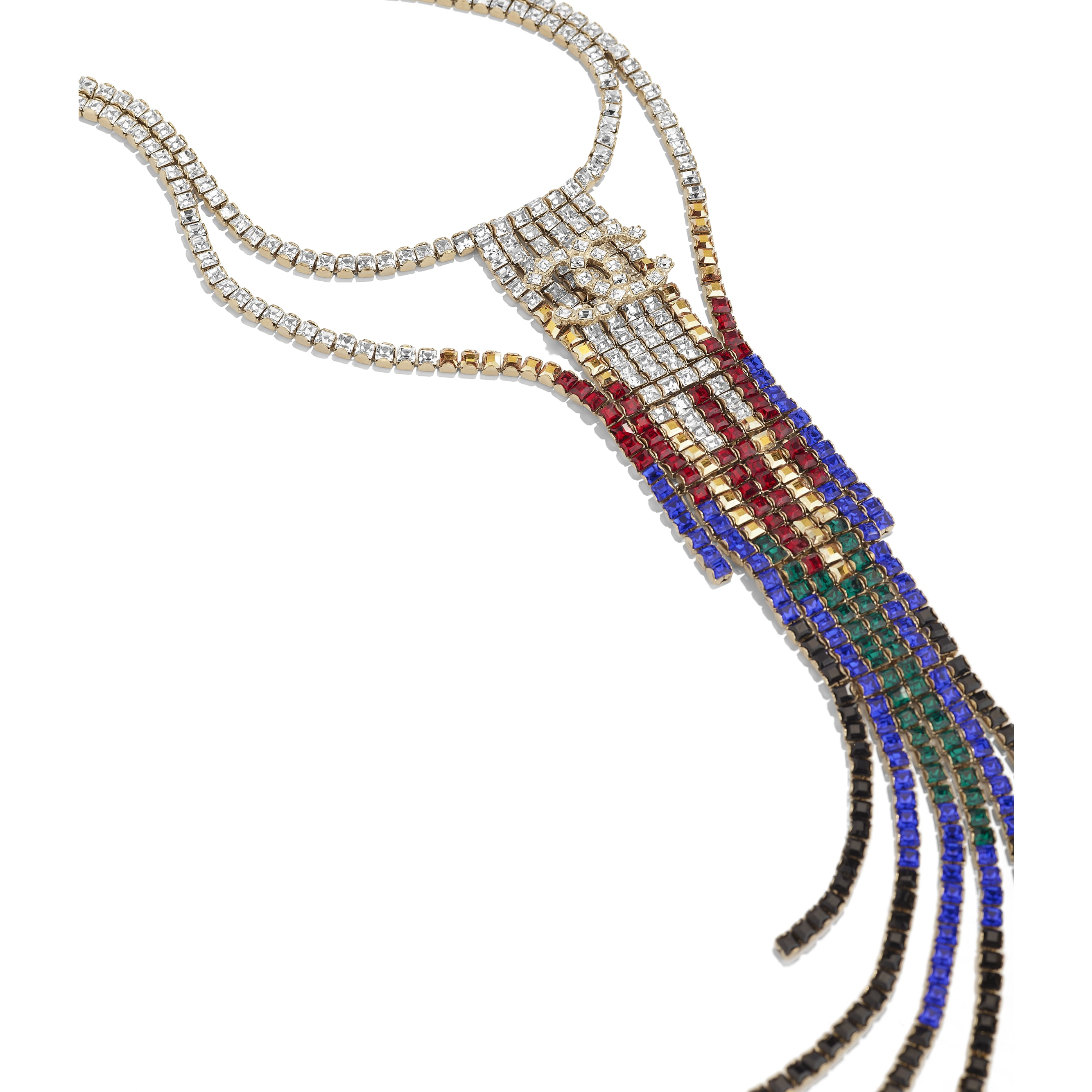 Necklace - Gold, Black, Red, Blue & Crystal - Metal & Strass - Alternative view - see standard sized version