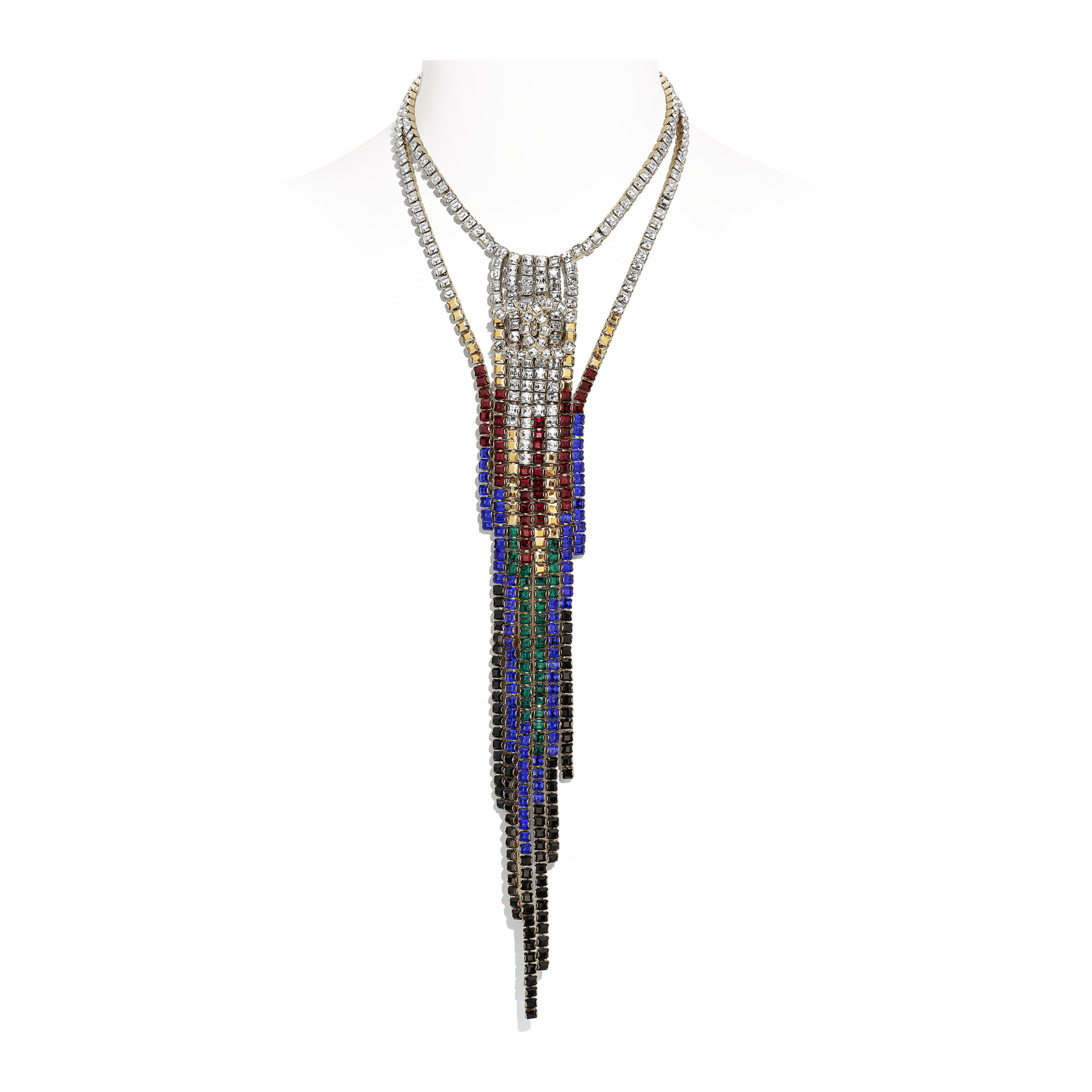 Necklace - Gold, Black, Red, Blue & Crystal - Metal & Strass - Default view - see standard sized version