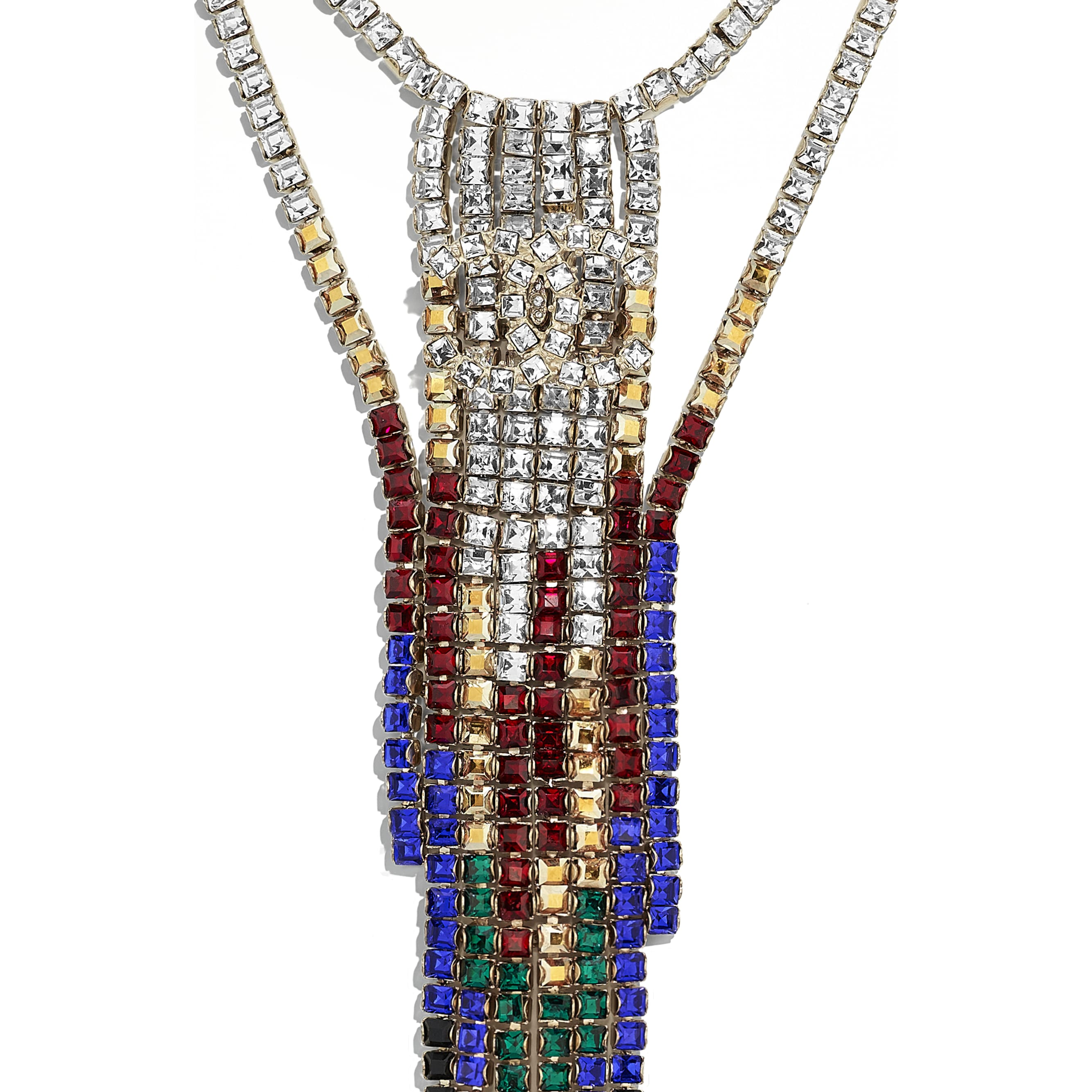 Necklace - Gold, Black, Red, Blue & Crystal - Metal & Strass - Other view - see standard sized version