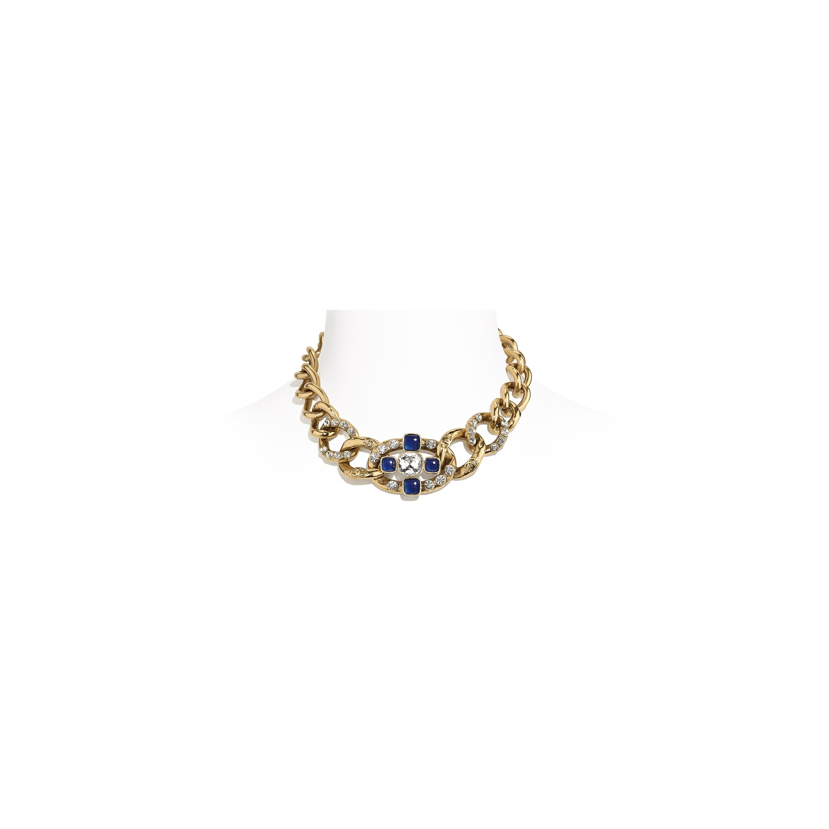 Necklace - Gold, Blue & Crystal - Metal, Glass & Diamanté - CHANEL - Default view - see standard sized version