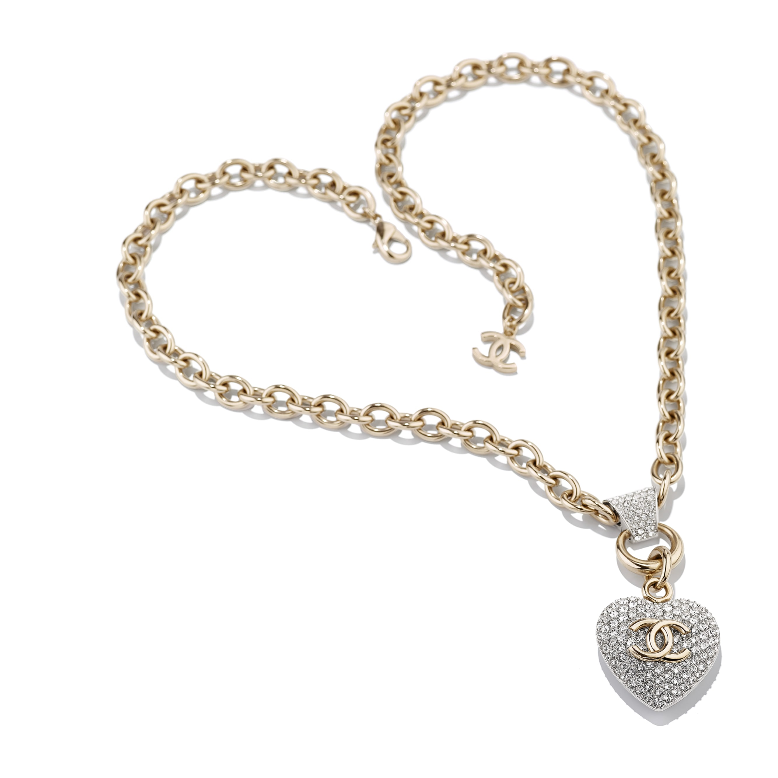 Necklace - Gold & Crystal - Metal & Strass - CHANEL - Alternative view - see standard sized version