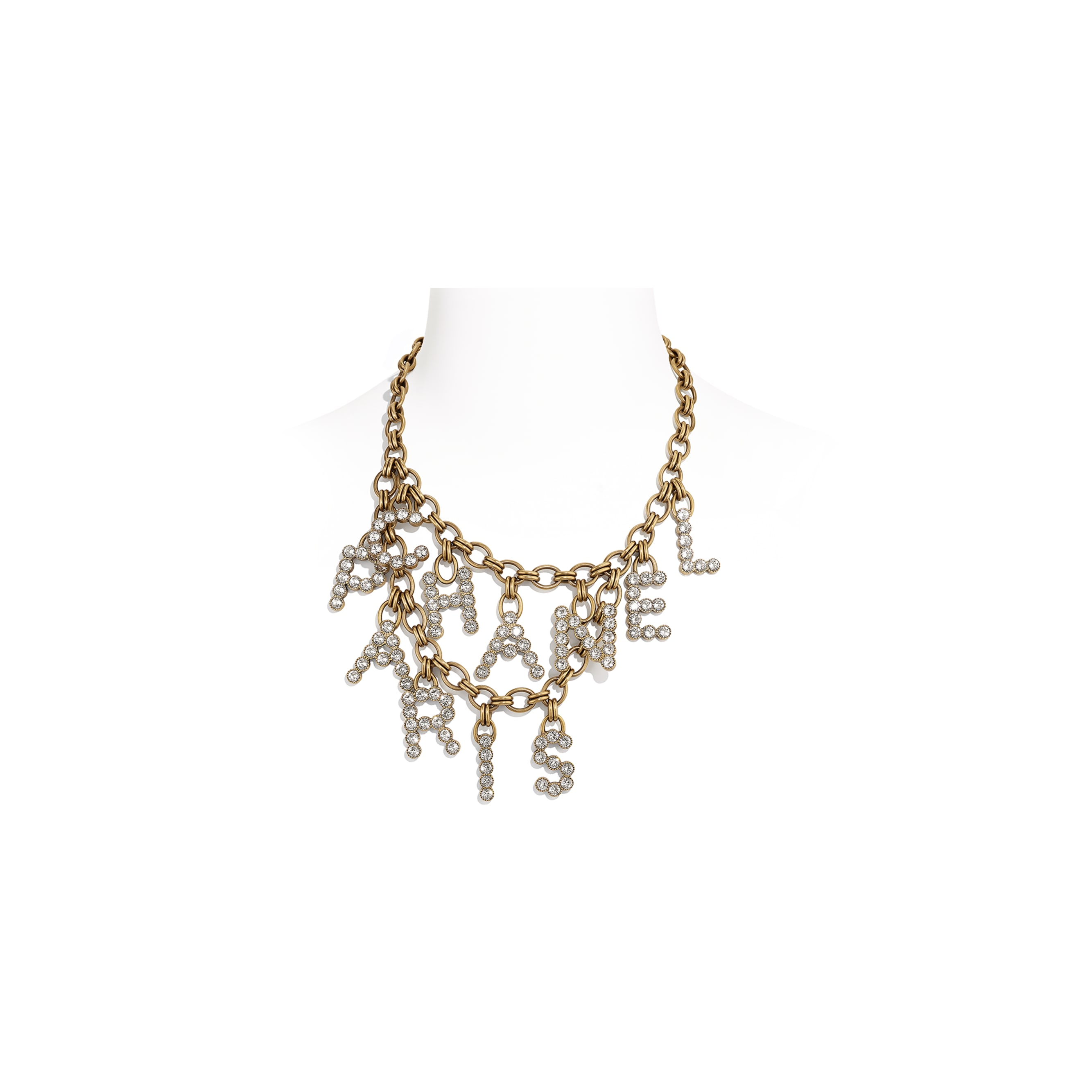Necklace - Gold & Crystal - Metal & Diamantés - Default view - see standard sized version