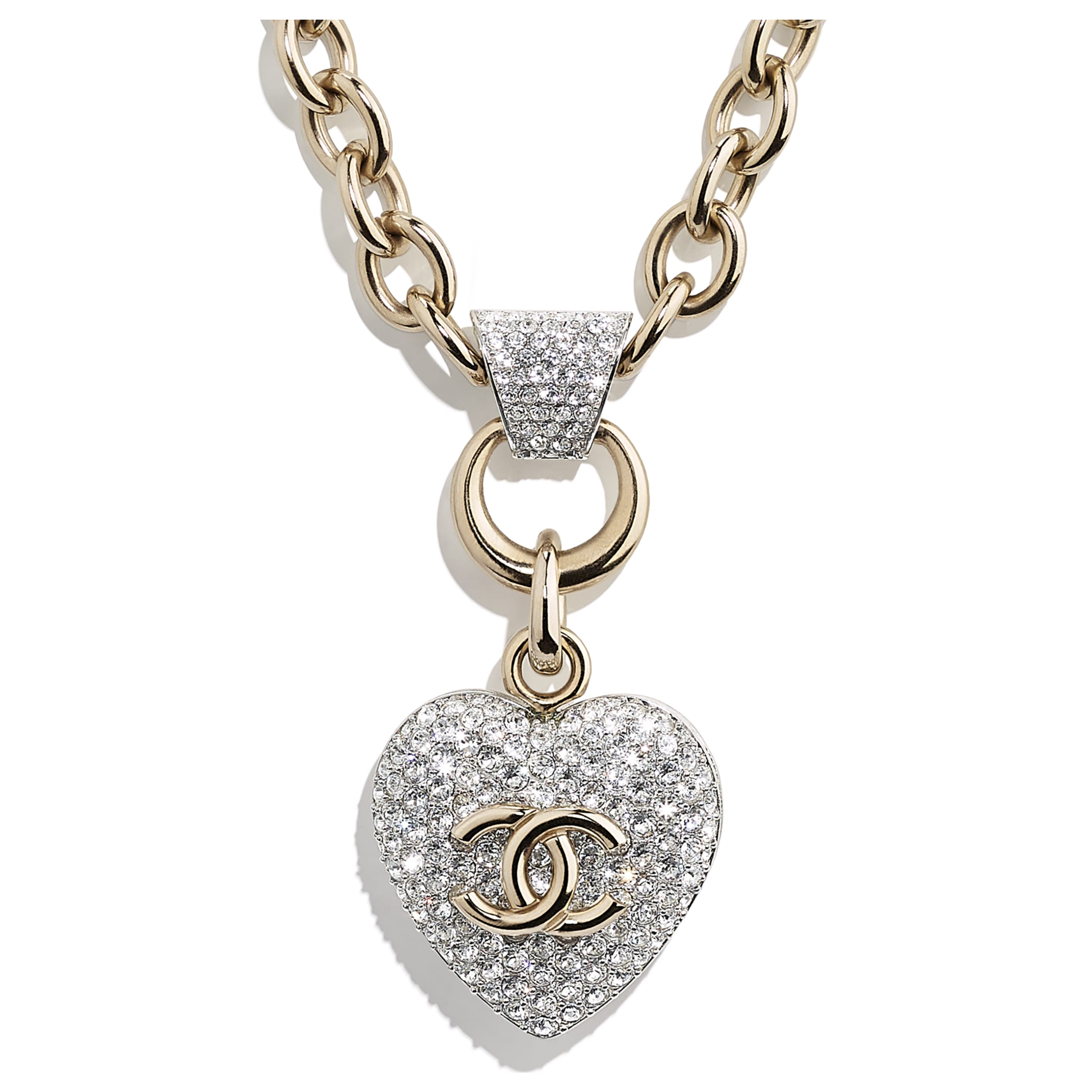 Necklace - Gold & Crystal - Metal & Strass - CHANEL - Other view - see standard sized version
