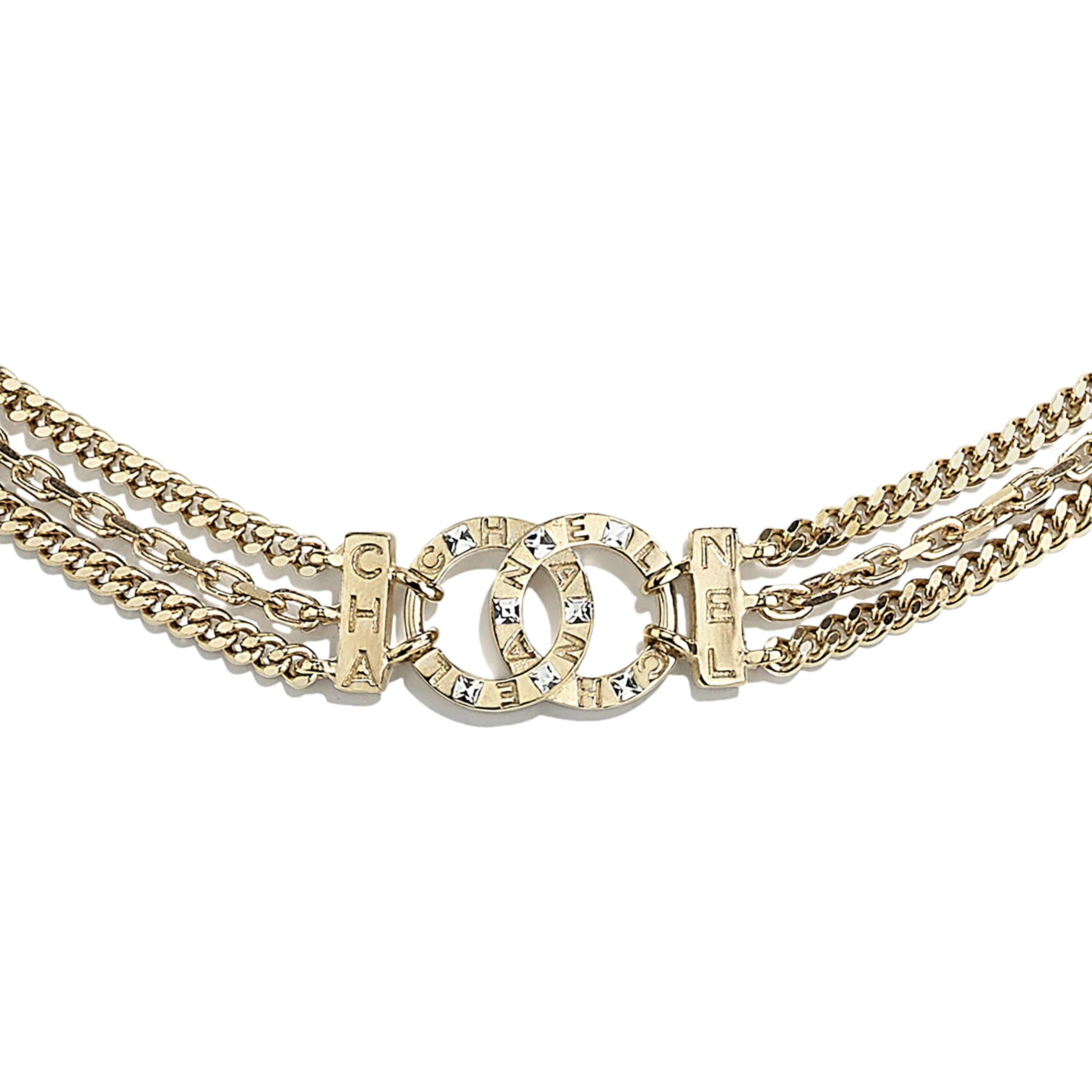 Necklace - Gold & Crystal - Metal & Diamantés - CHANEL - Other view - see standard sized version