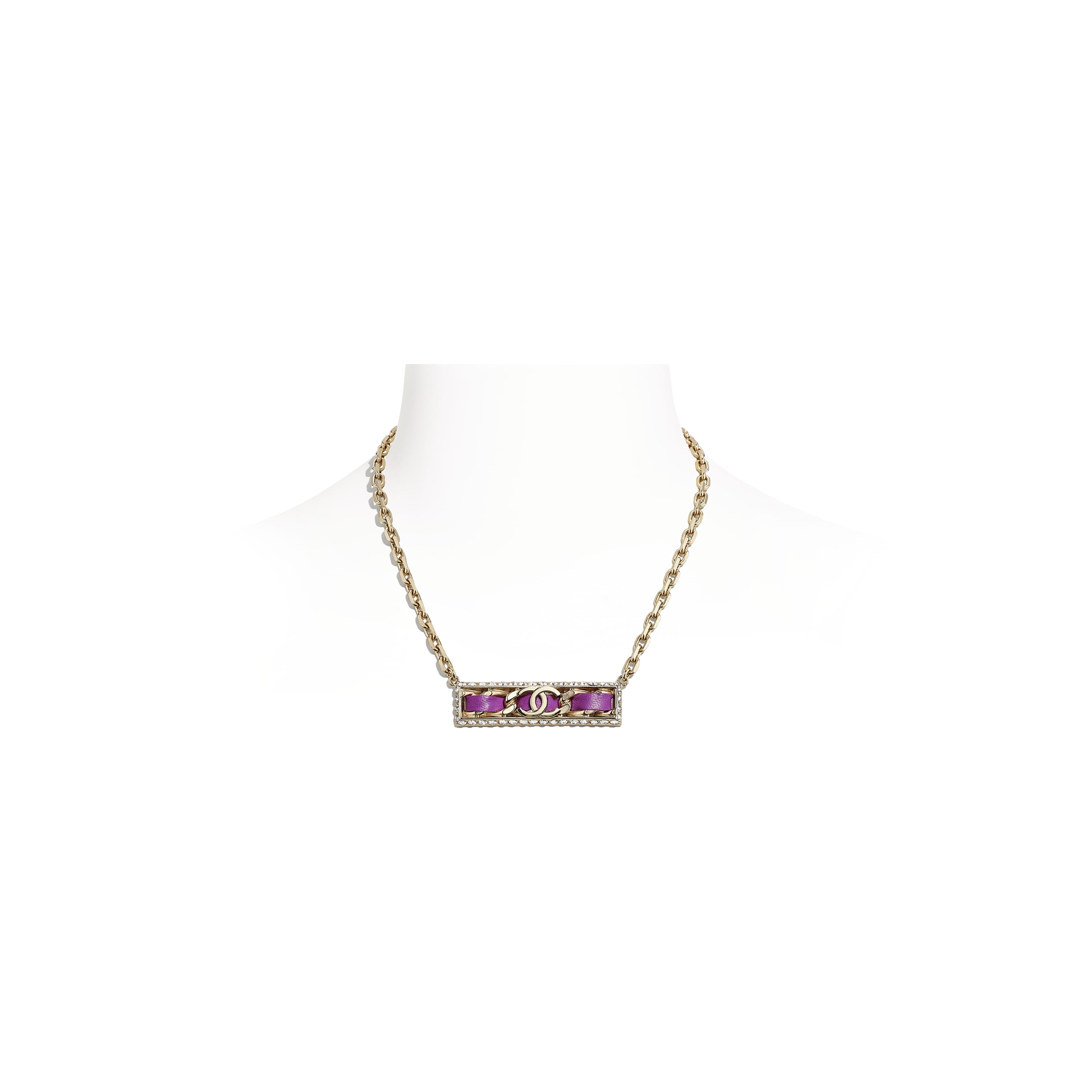 Necklace - Gold, Fuchsia & Crystal - Metal, Lambskin & Strass - CHANEL - Default view - see standard sized version