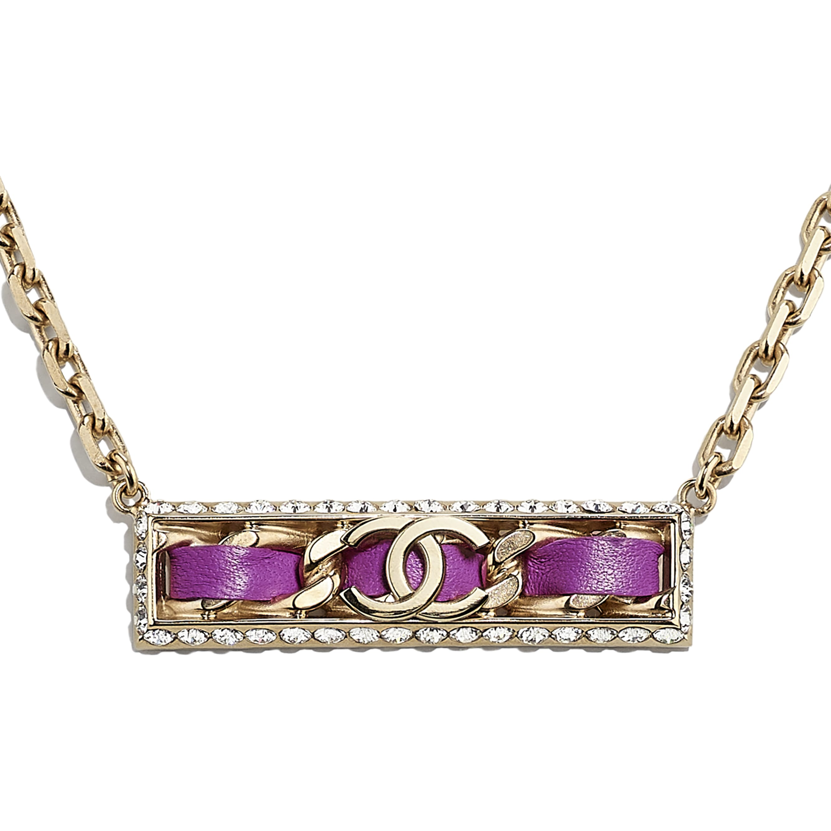 Necklace - Gold, Fuchsia & Crystal - Metal, Lambskin & Strass - CHANEL - Other view - see standard sized version
